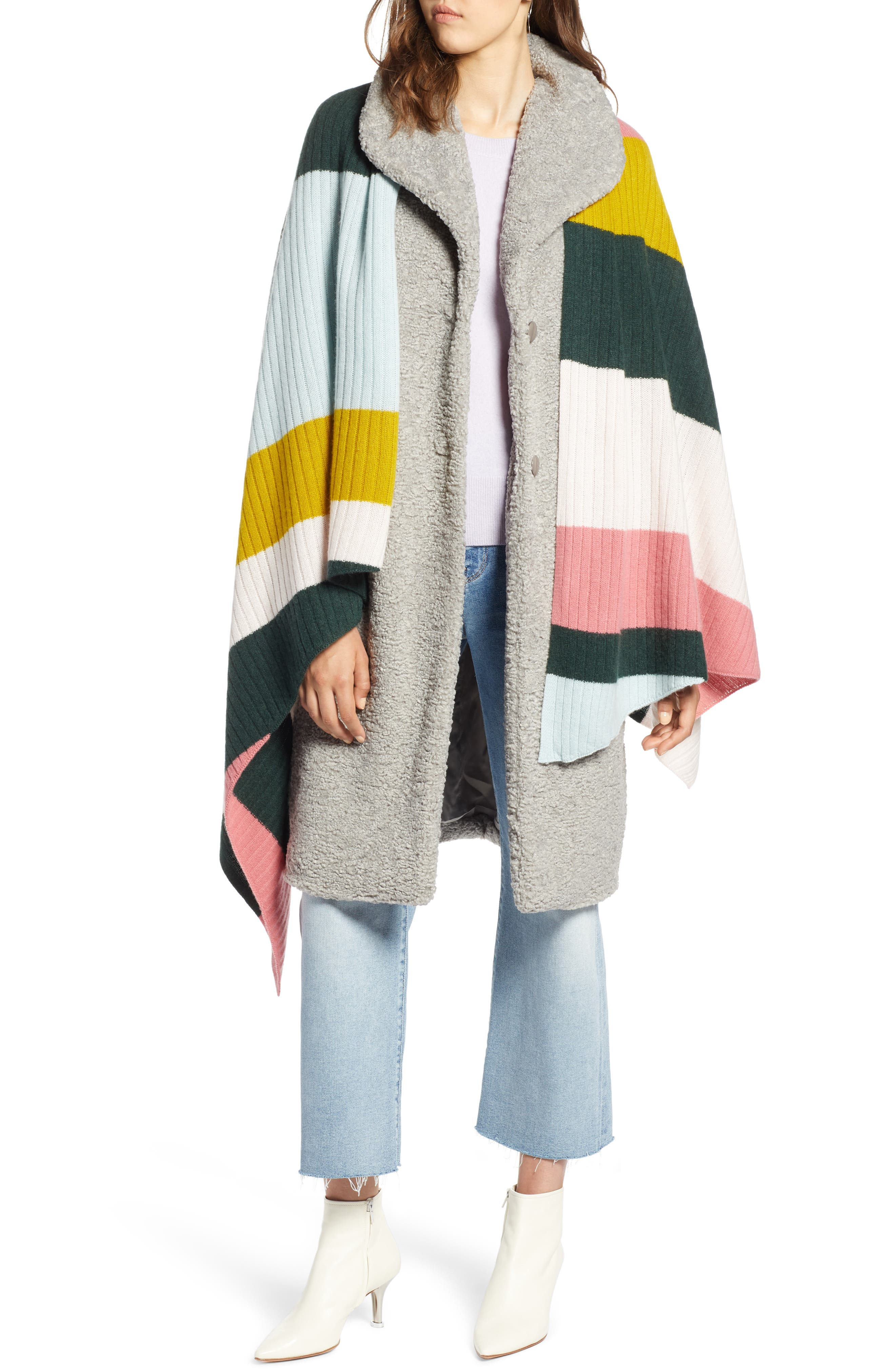 x Atlantic-Pacific Stripe Cashmere Wrap,                             Main thumbnail 1, color,                             660