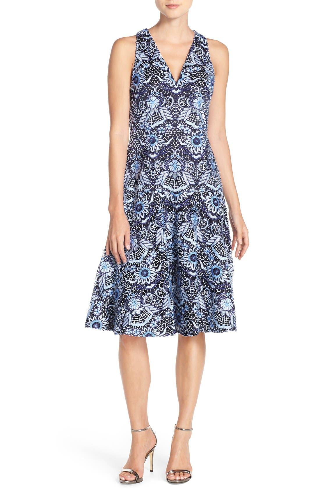 Lace Fit & Flare Dress,                             Alternate thumbnail 5, color,                             410