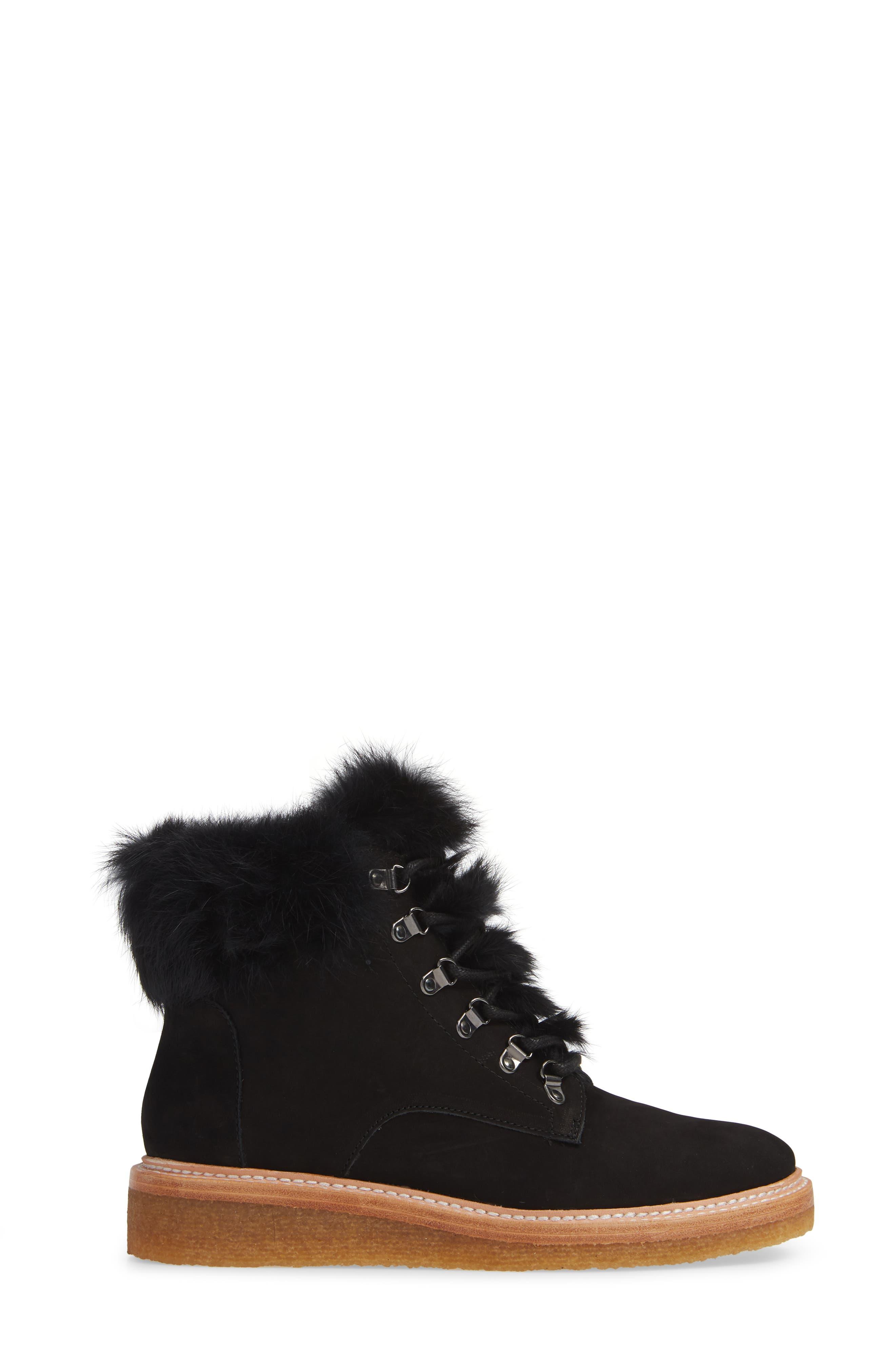 BOTKIER,                             Winter Genuine Rabbit Fur Trim Boot,                             Alternate thumbnail 3, color,                             BLACK SUEDE