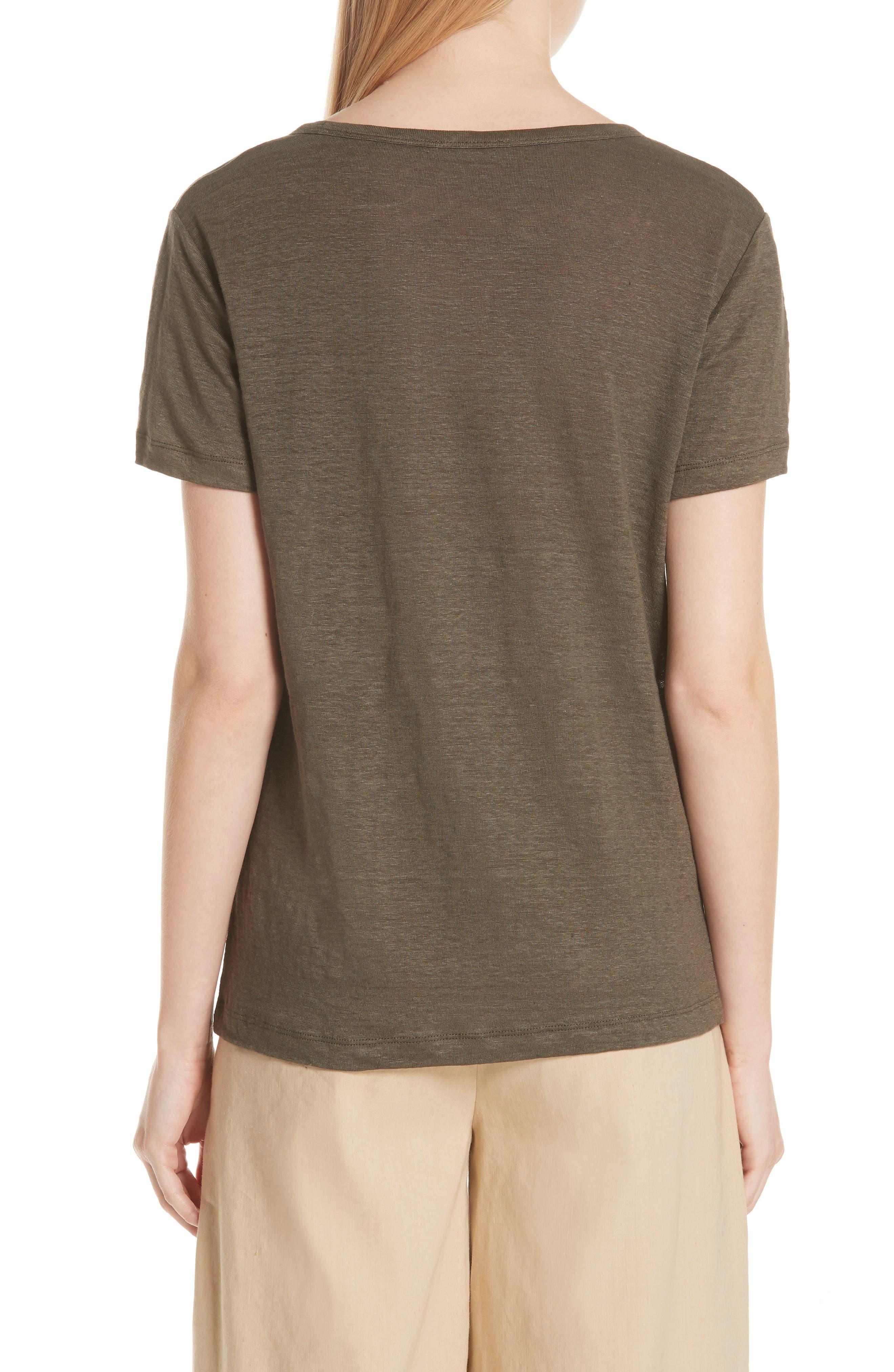 Linen Short Sleeve Top,                             Alternate thumbnail 4, color,