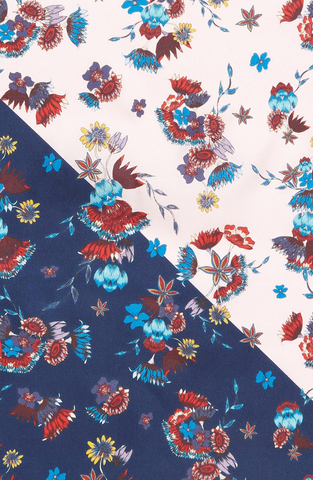 Pressed Floral Silk Bandana,                             Alternate thumbnail 4, color,                             PINK