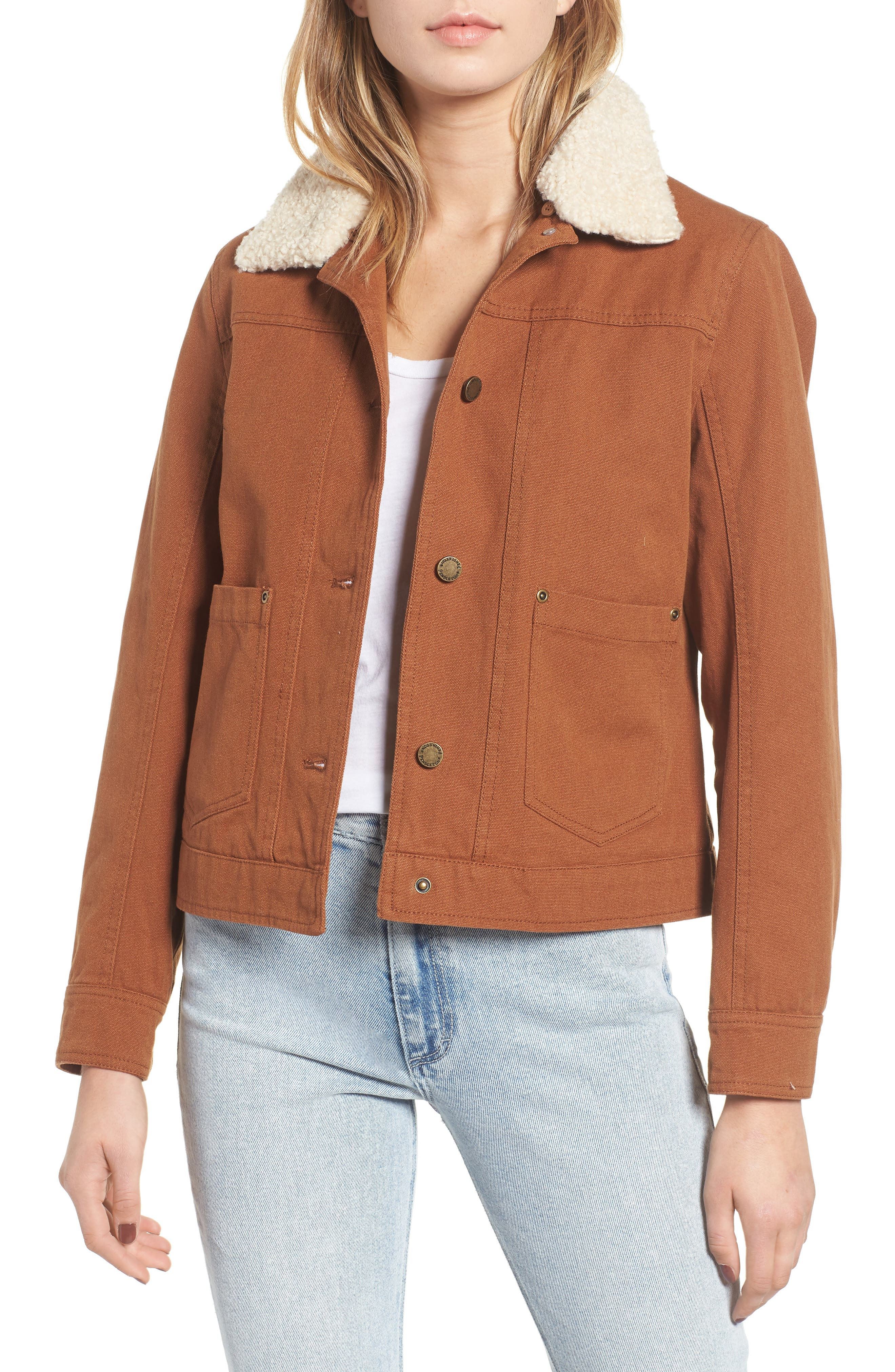 PENDLETON Faux Shearling Trucker Jacket, Main, color, WHISKEY