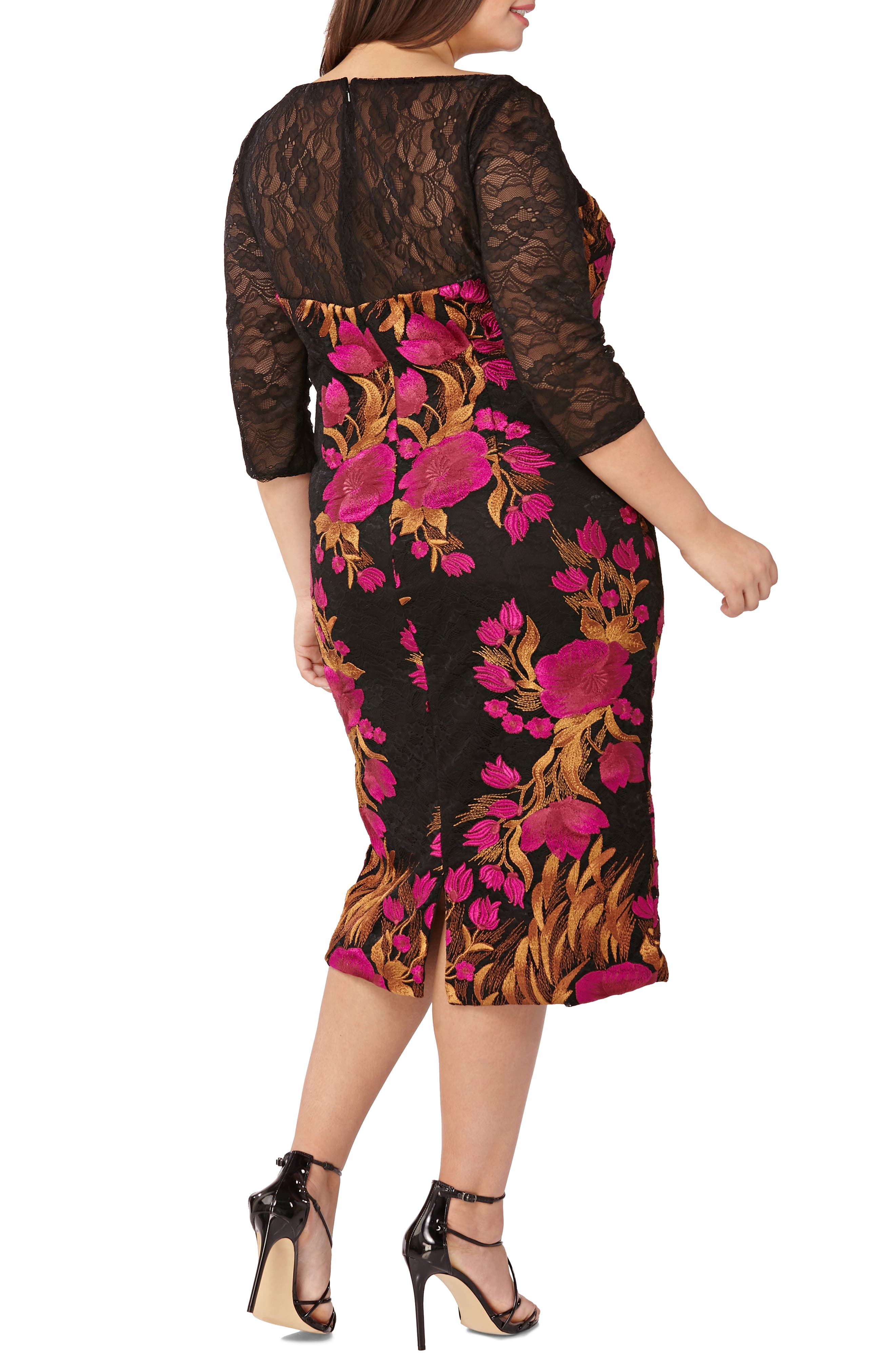Embroidered Lace Cocktail Dress,                             Alternate thumbnail 2, color,                             MAGENTA/ MULTI