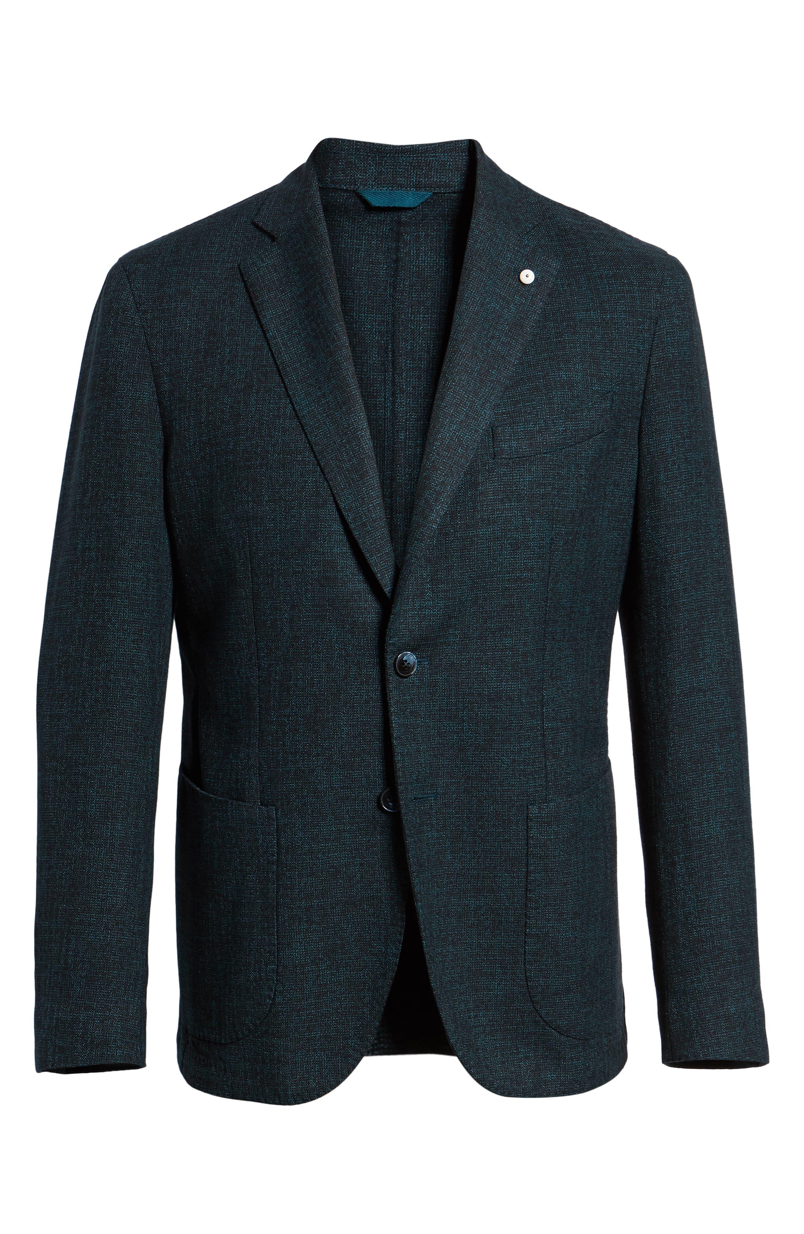 L.B.M 1911 Classic Fit Cotton & Wool Blazer,                             Alternate thumbnail 5, color,                             GREEN