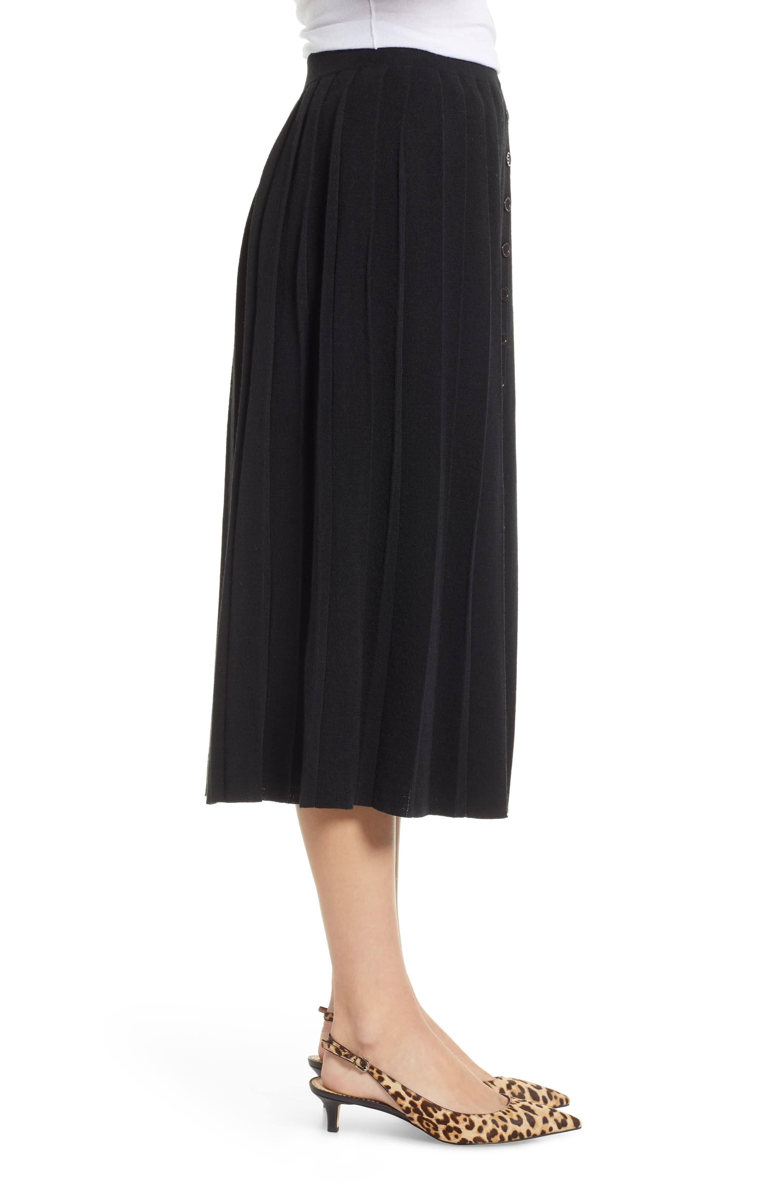 Pleated Sweater Skirt,                             Alternate thumbnail 3, color,                             BLACK