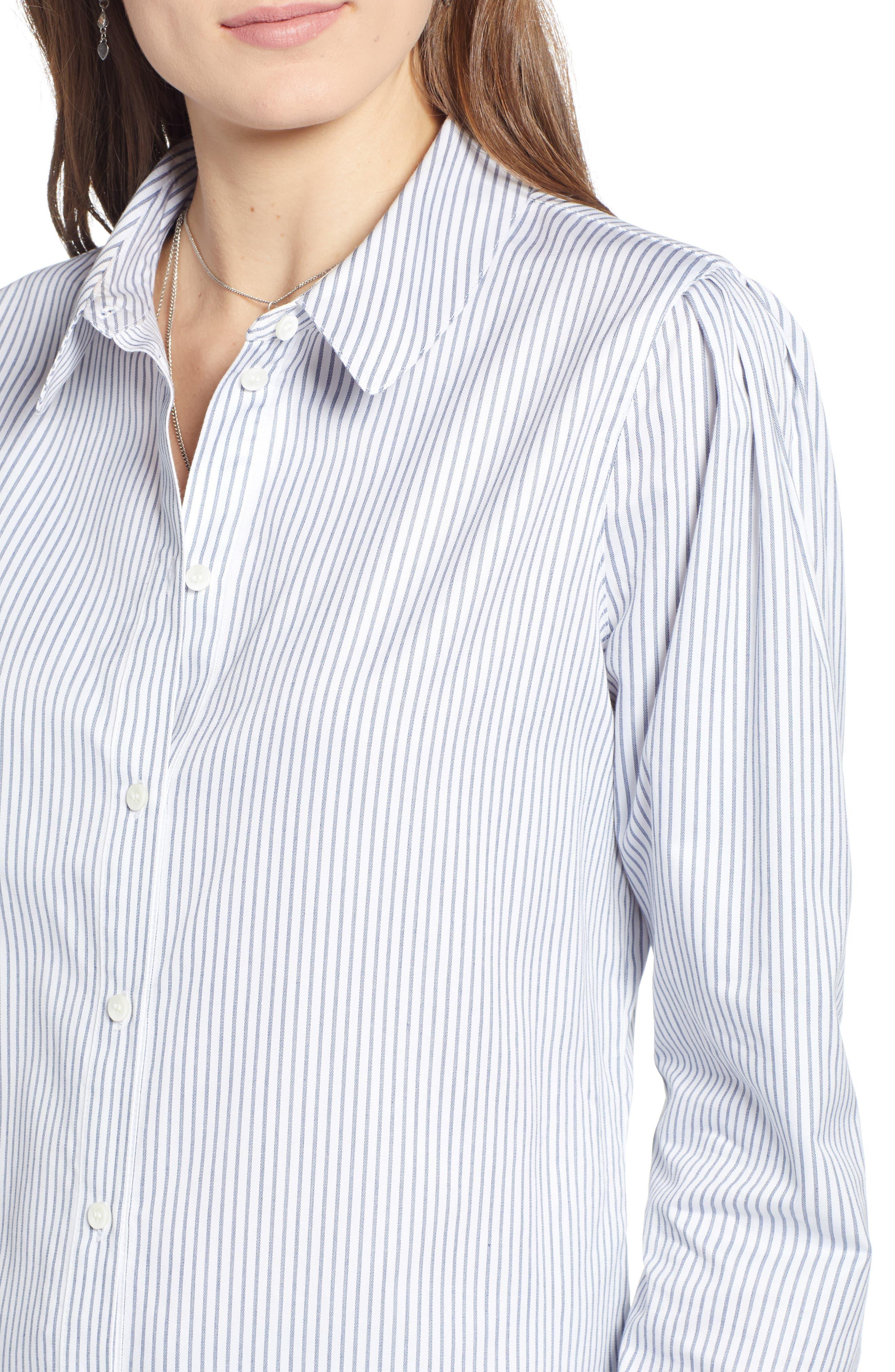 Pleated Sleeve Stripe Shirt,                             Alternate thumbnail 4, color,                             WHITE STOCKHOLM STRIPE