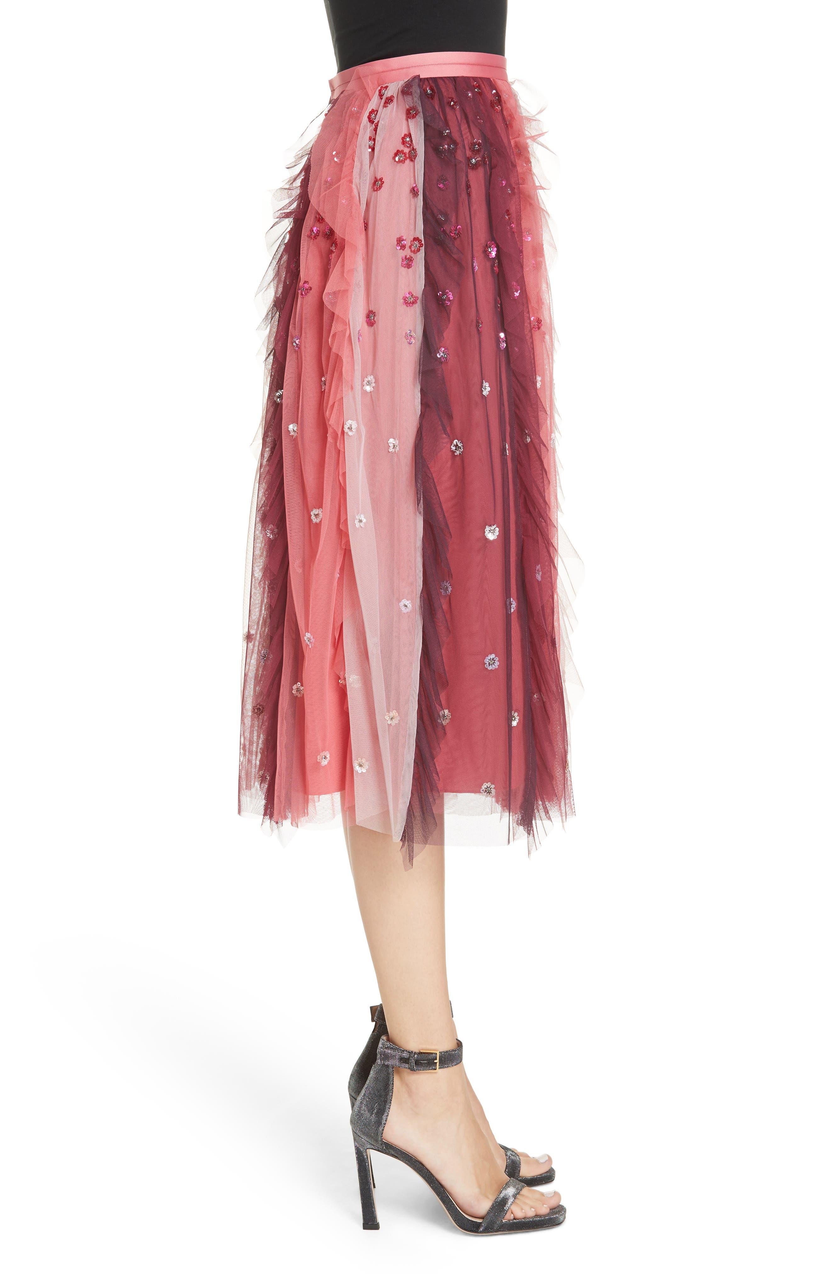Rainbow Midi Skirt,                             Alternate thumbnail 3, color,                             CHERRY