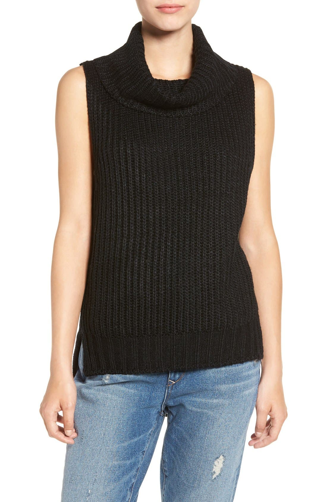ASTR High/Low Turtleneck Sweater, Main, color, 001