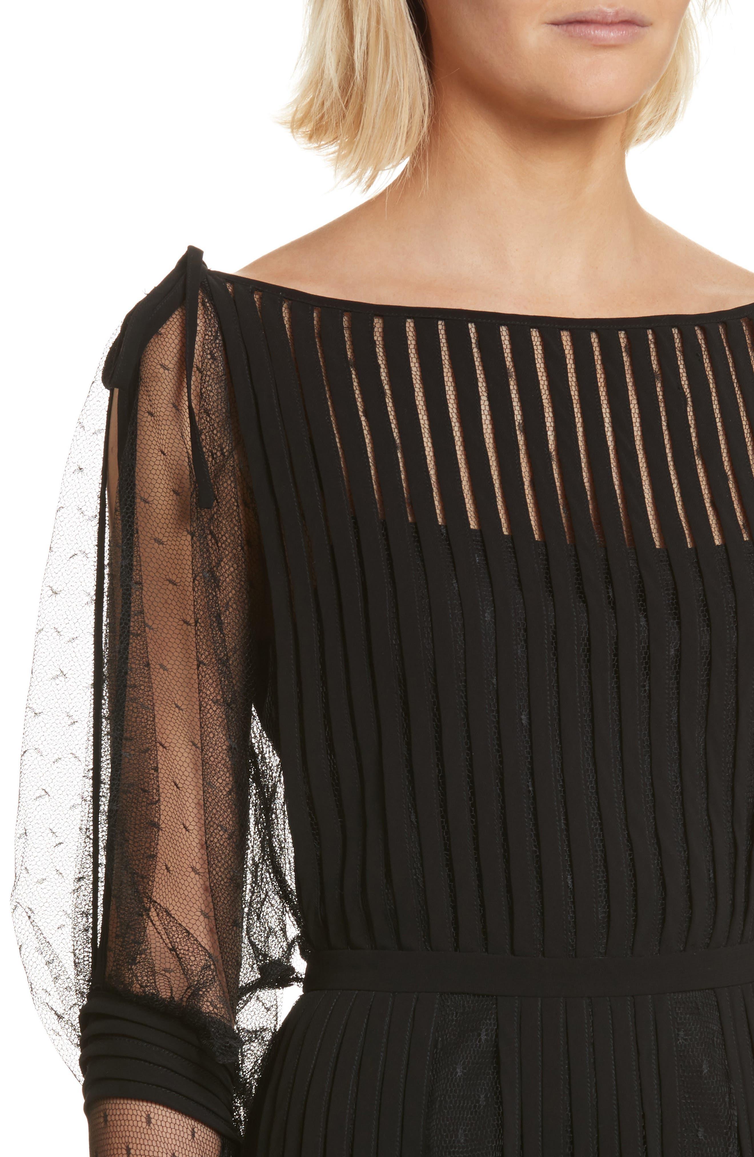 Point d'Esprit & Georgette Midi Dress,                             Alternate thumbnail 4, color,