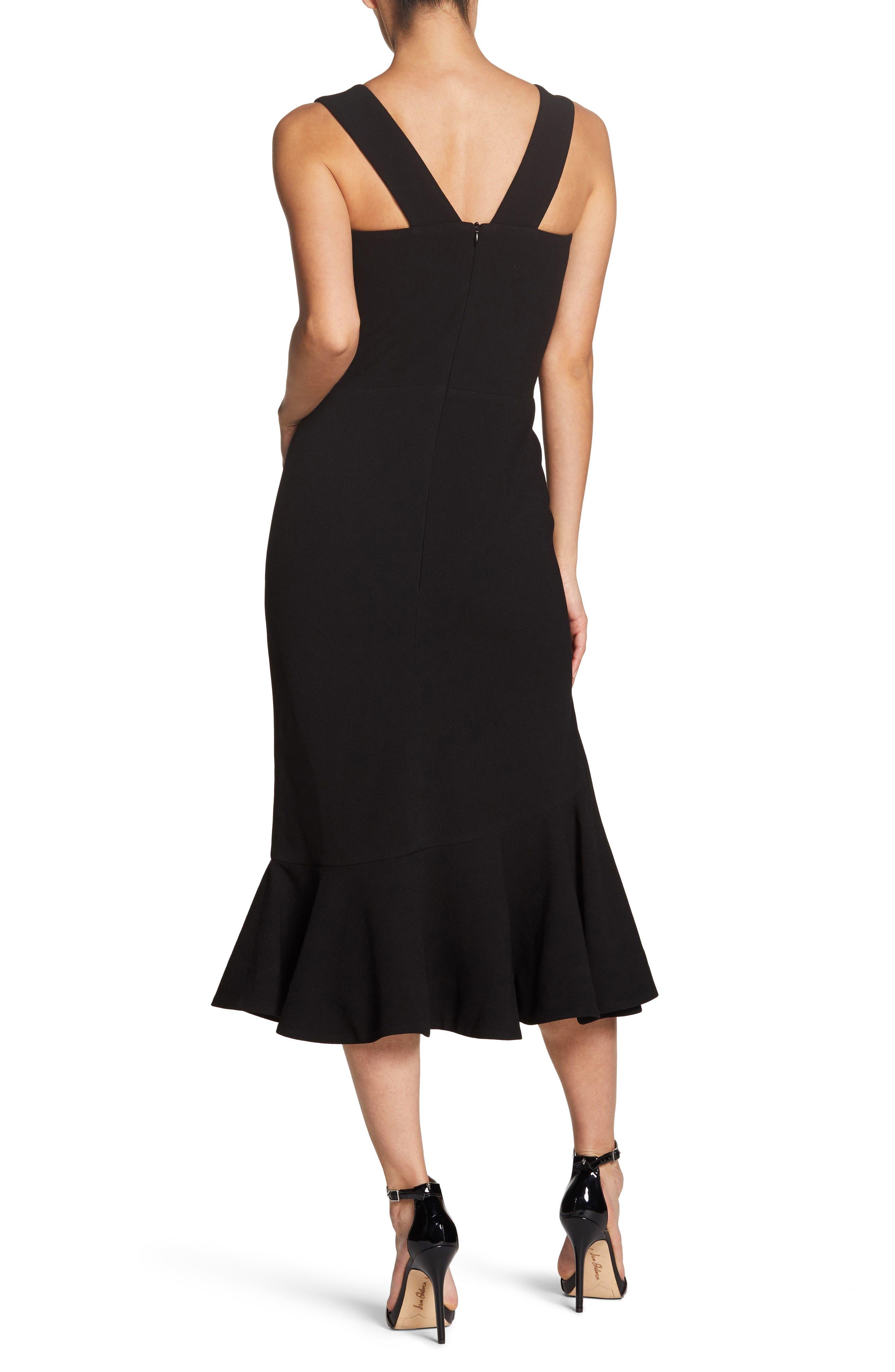 Monica Tea Length Trumpet Dress,                             Alternate thumbnail 2, color,                             BLACK