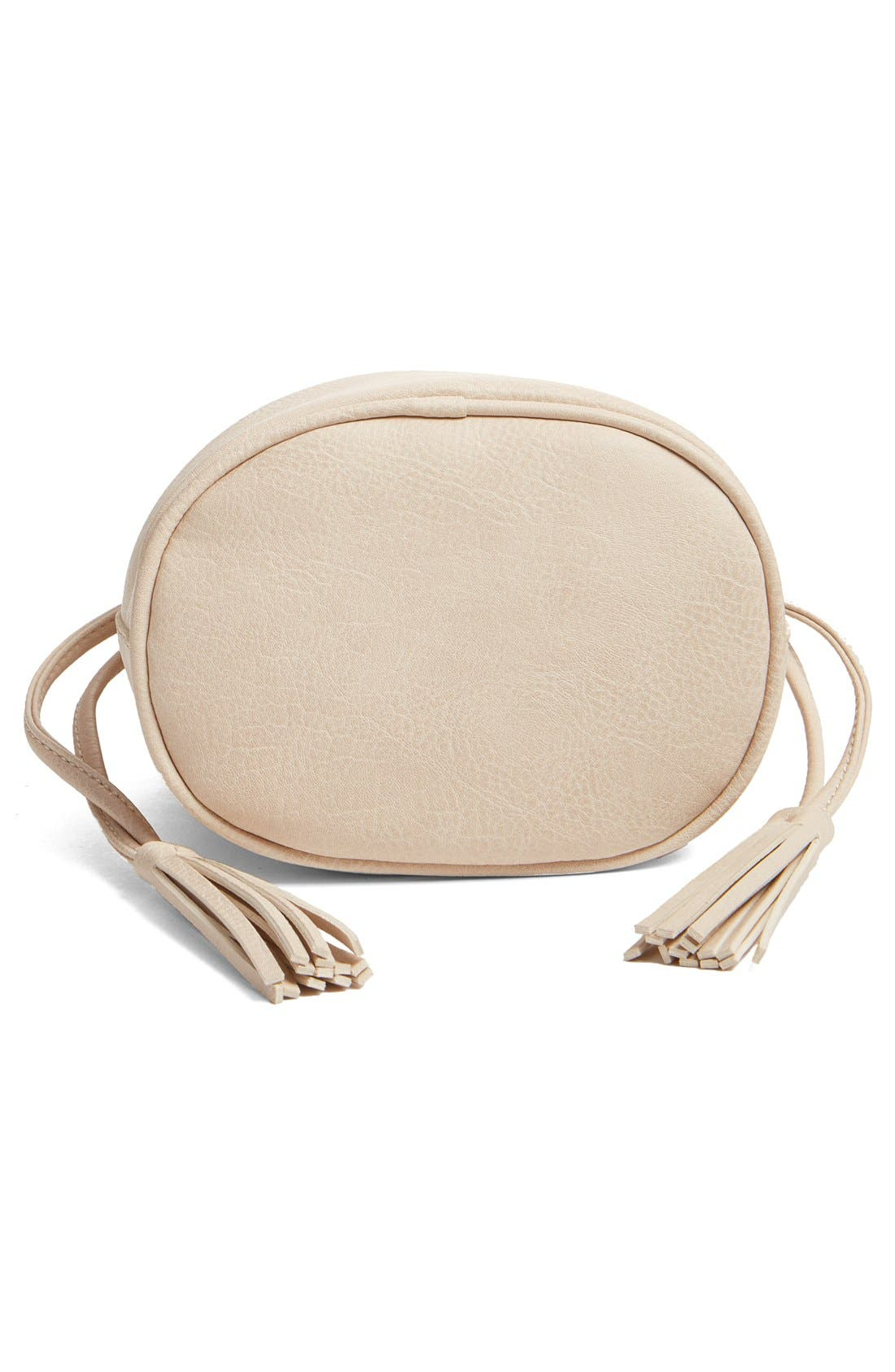 Mini Faux Leather Tassel Bucket Bag,                             Alternate thumbnail 12, color,