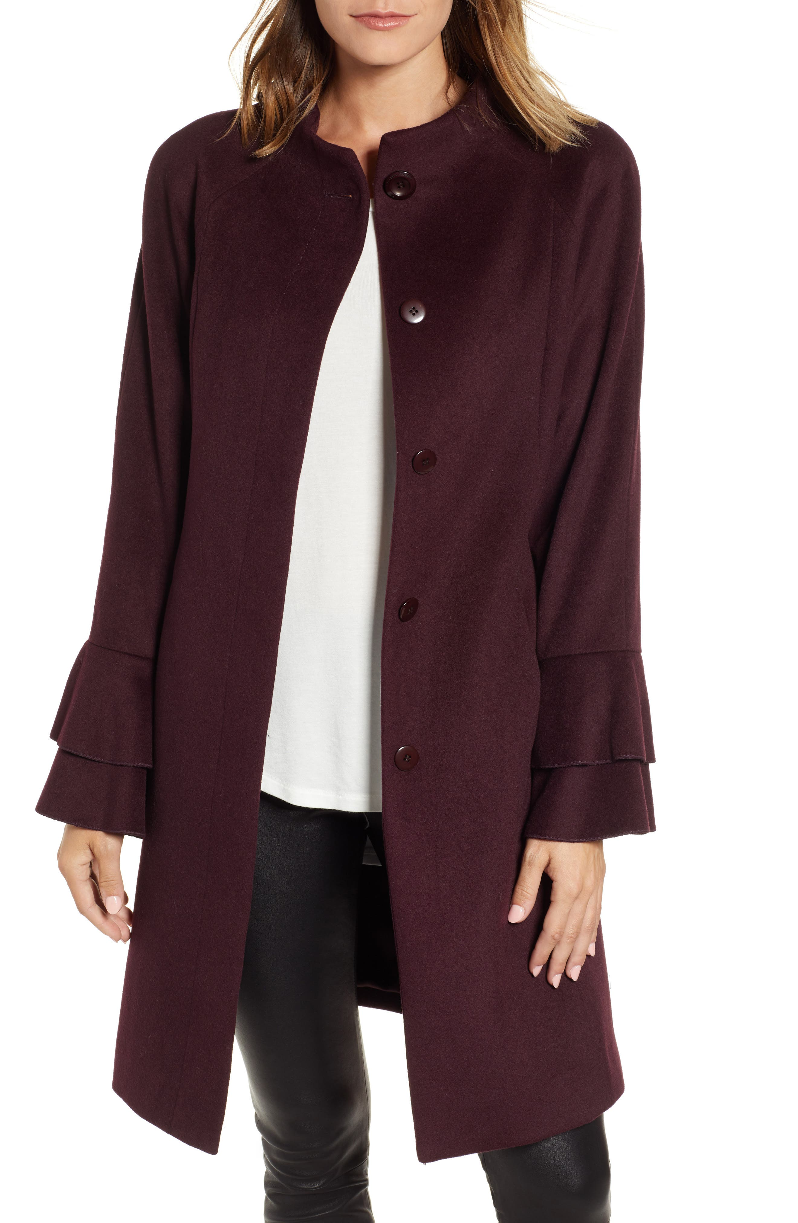Sara Ruffle Cuff Wool Blend Coat,                         Main,                         color, WINE