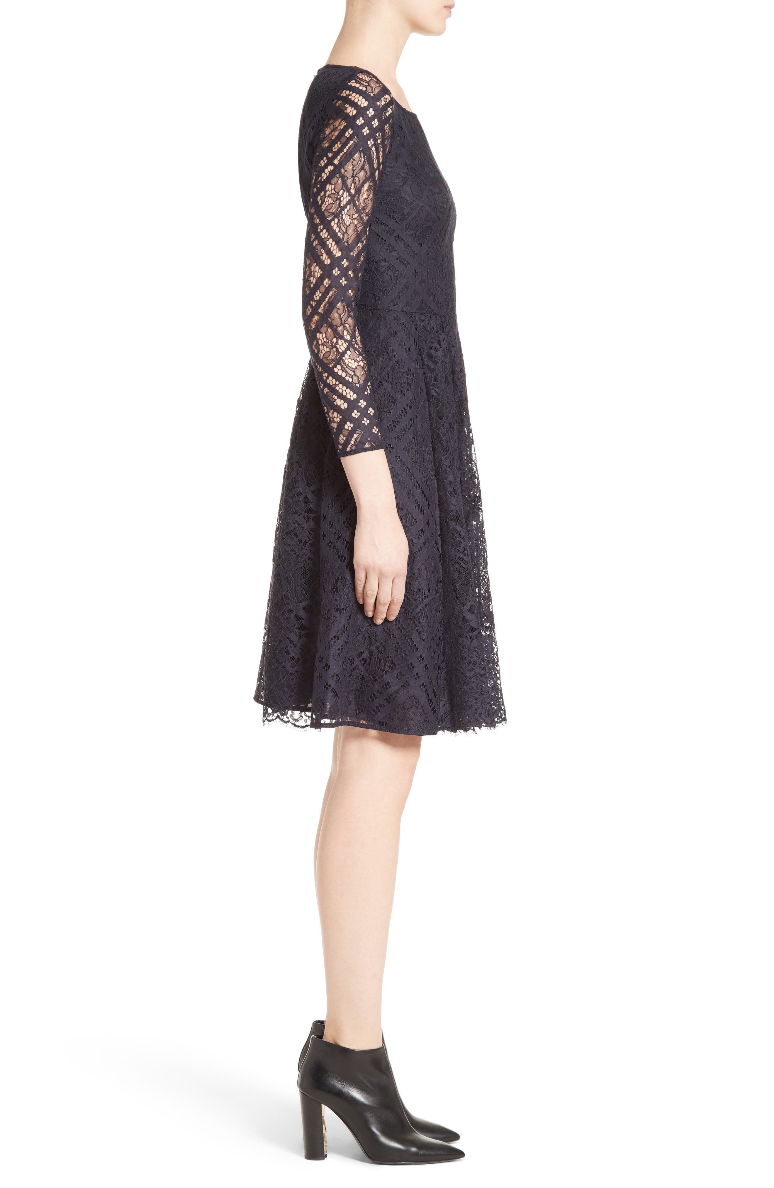 Liliana Lace Fit & Flare Dress,                             Alternate thumbnail 3, color,                             410