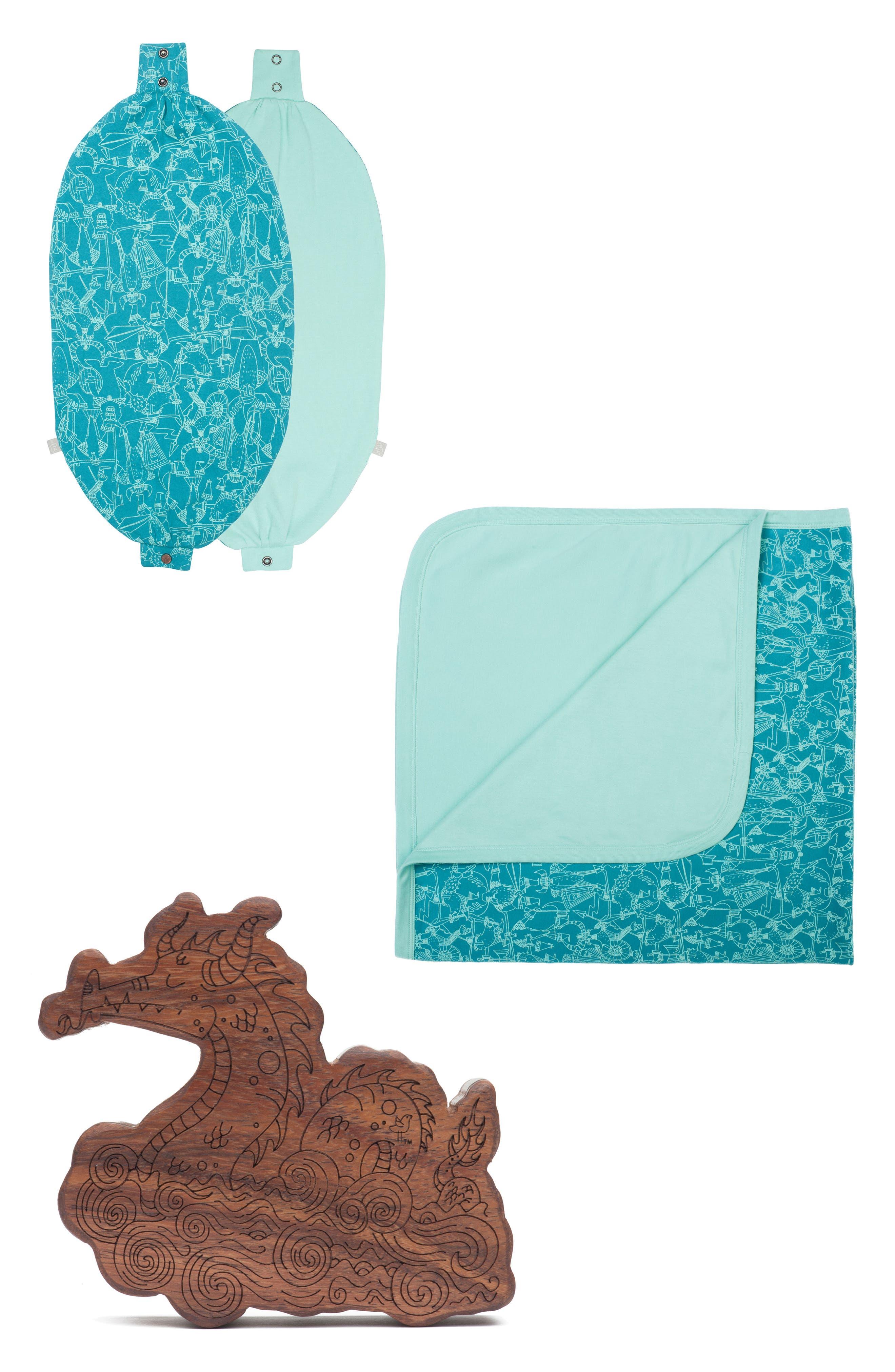 Organic Cotton Blanket, Bib & Hardwood Rattle Set,                             Main thumbnail 1, color,                             440