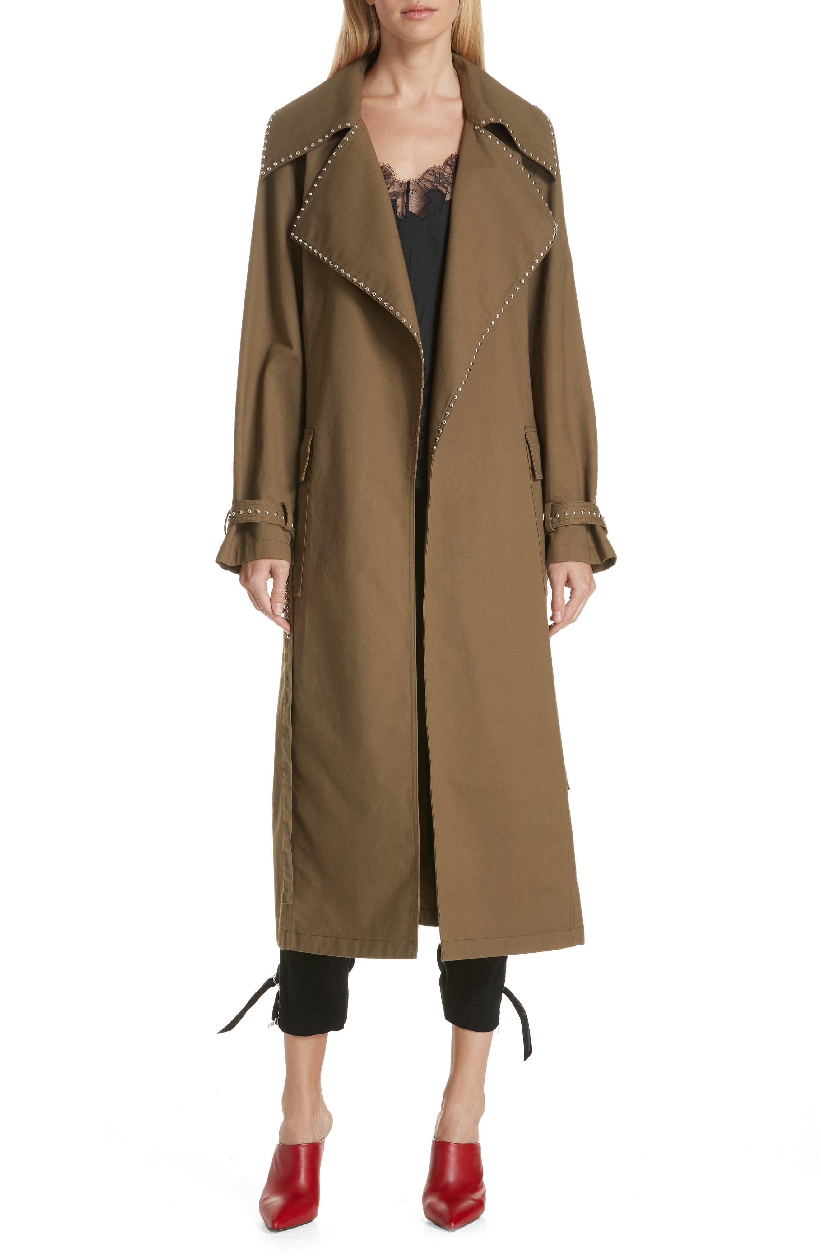 Studded Trench Coat,                             Main thumbnail 1, color,                             DARK GREEN