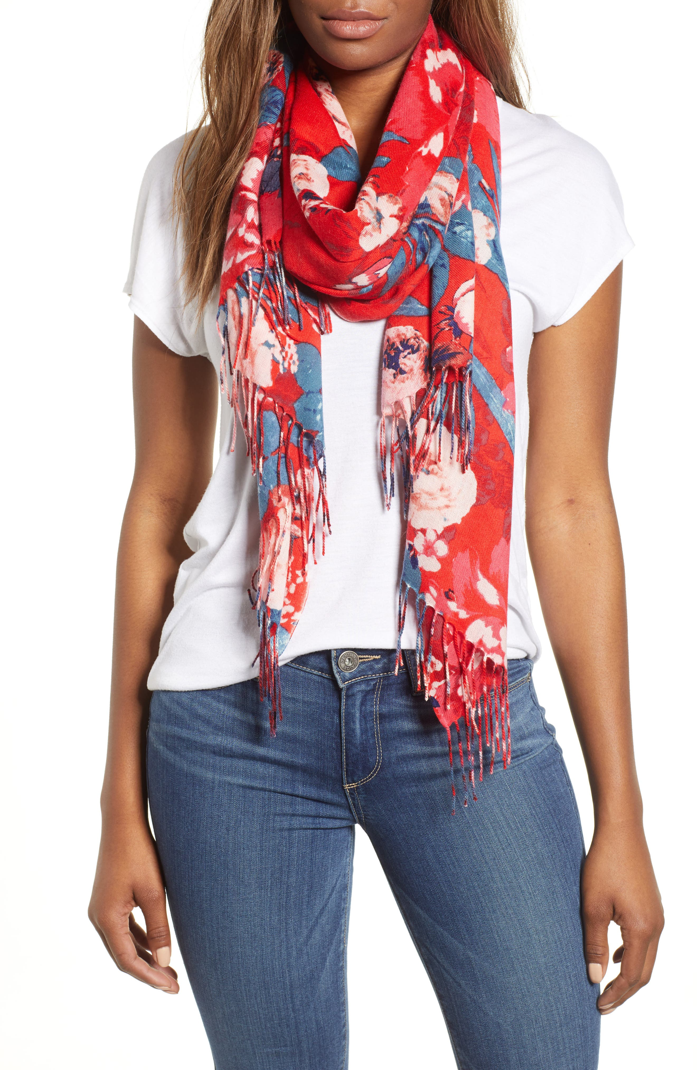 Tissue Print Wool & Cashmere Wrap Scarf,                             Main thumbnail 1, color,                             RED ARTFUL BLOOMS