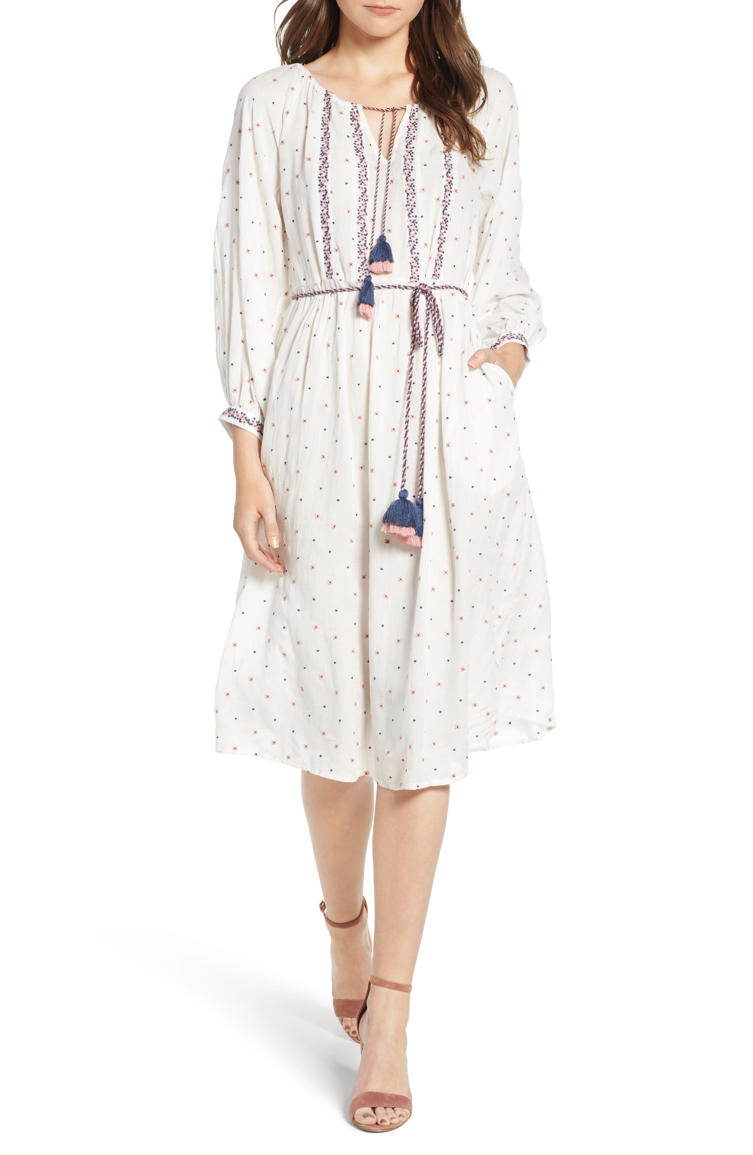 Embroidered Tassel Tie A-Line Dress,                         Main,                         color, 906