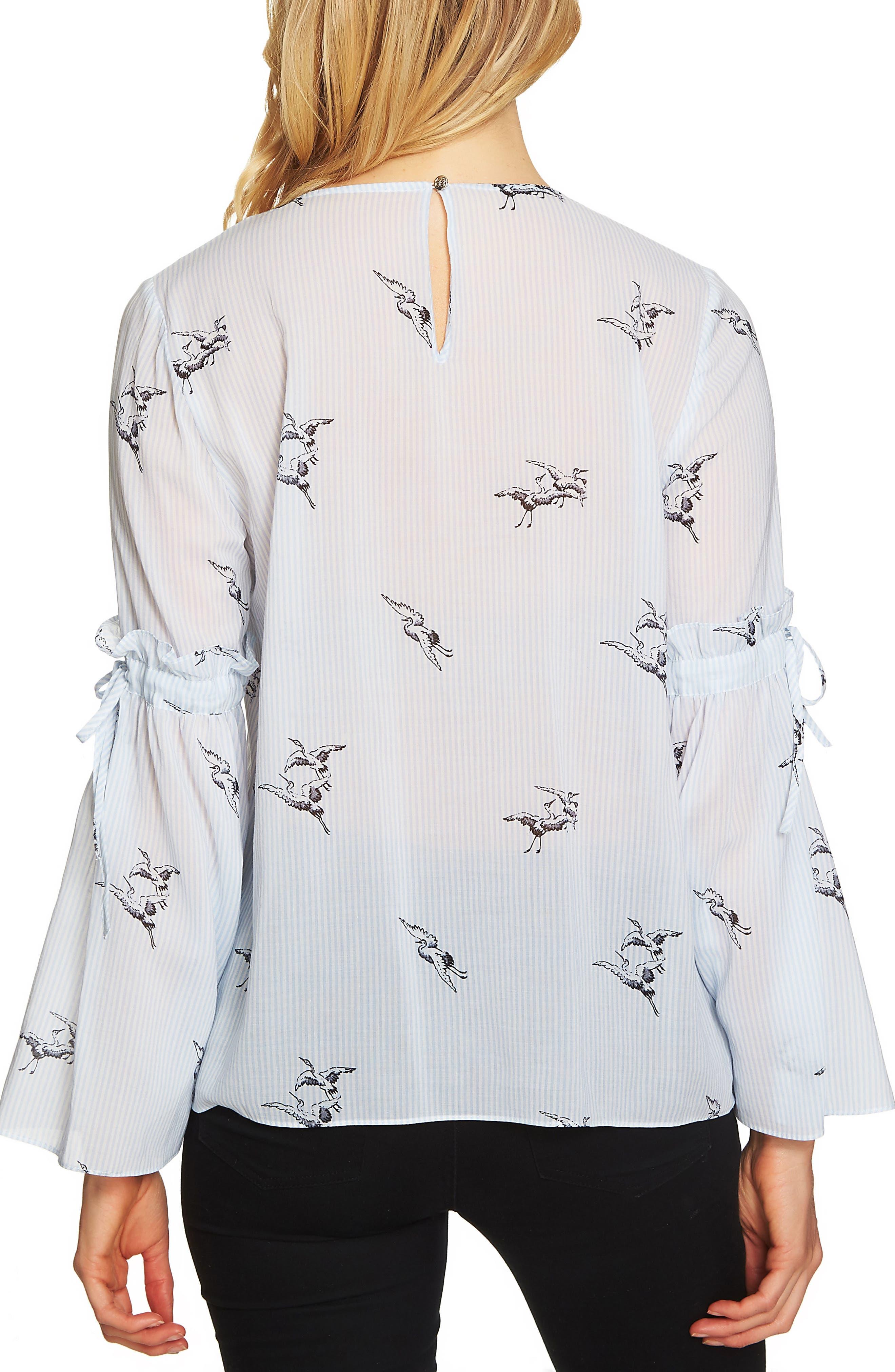 Bell Sleeve Bird Stripe Blouse,                             Alternate thumbnail 2, color,                             430