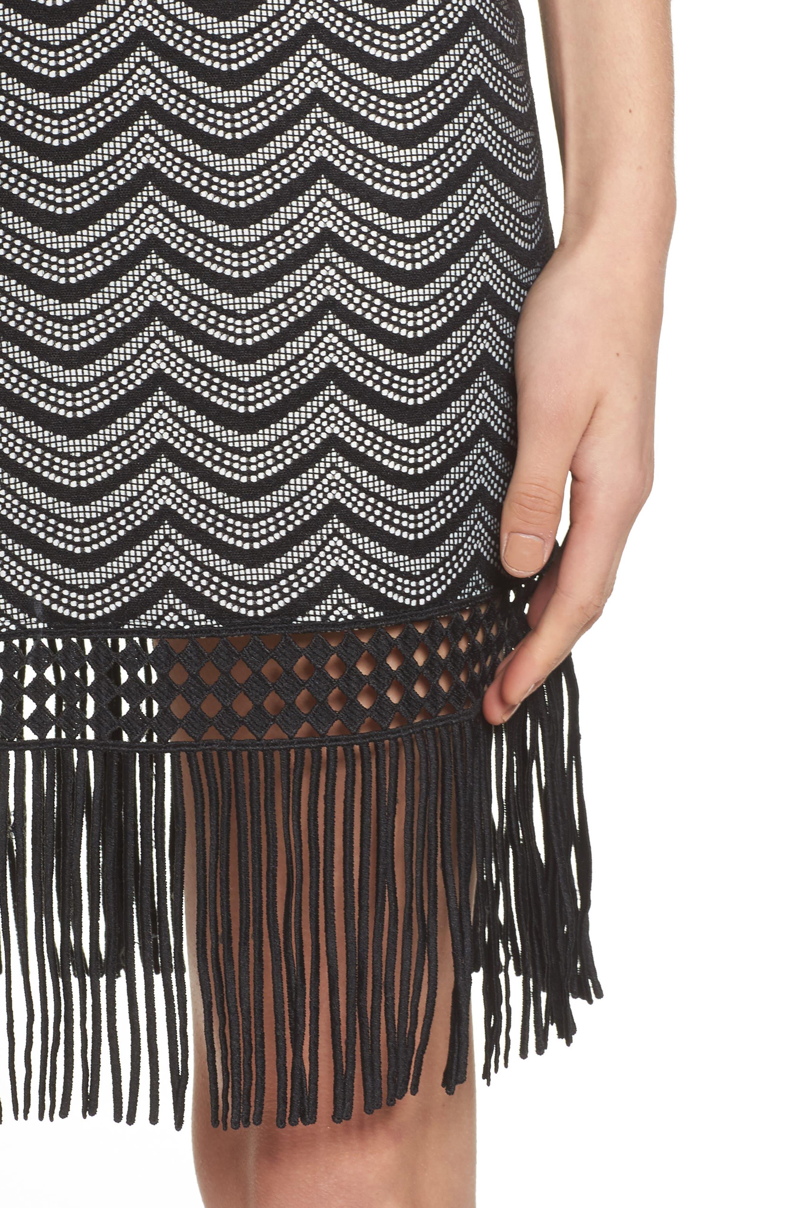 Fringe Sheath Dress,                             Alternate thumbnail 4, color,                             001