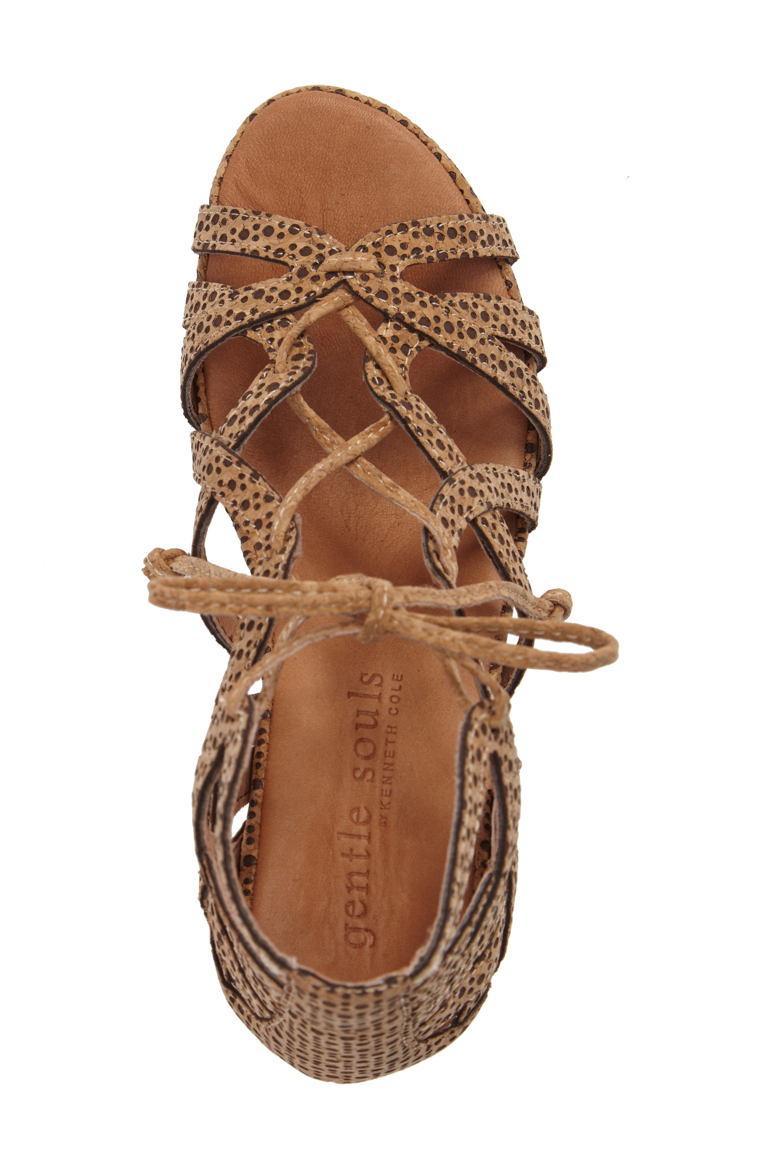 by Kenneth Cole 'Joy' Lace Up Nubuck Sandal,                             Alternate thumbnail 5, color,                             NATURAL COMBO