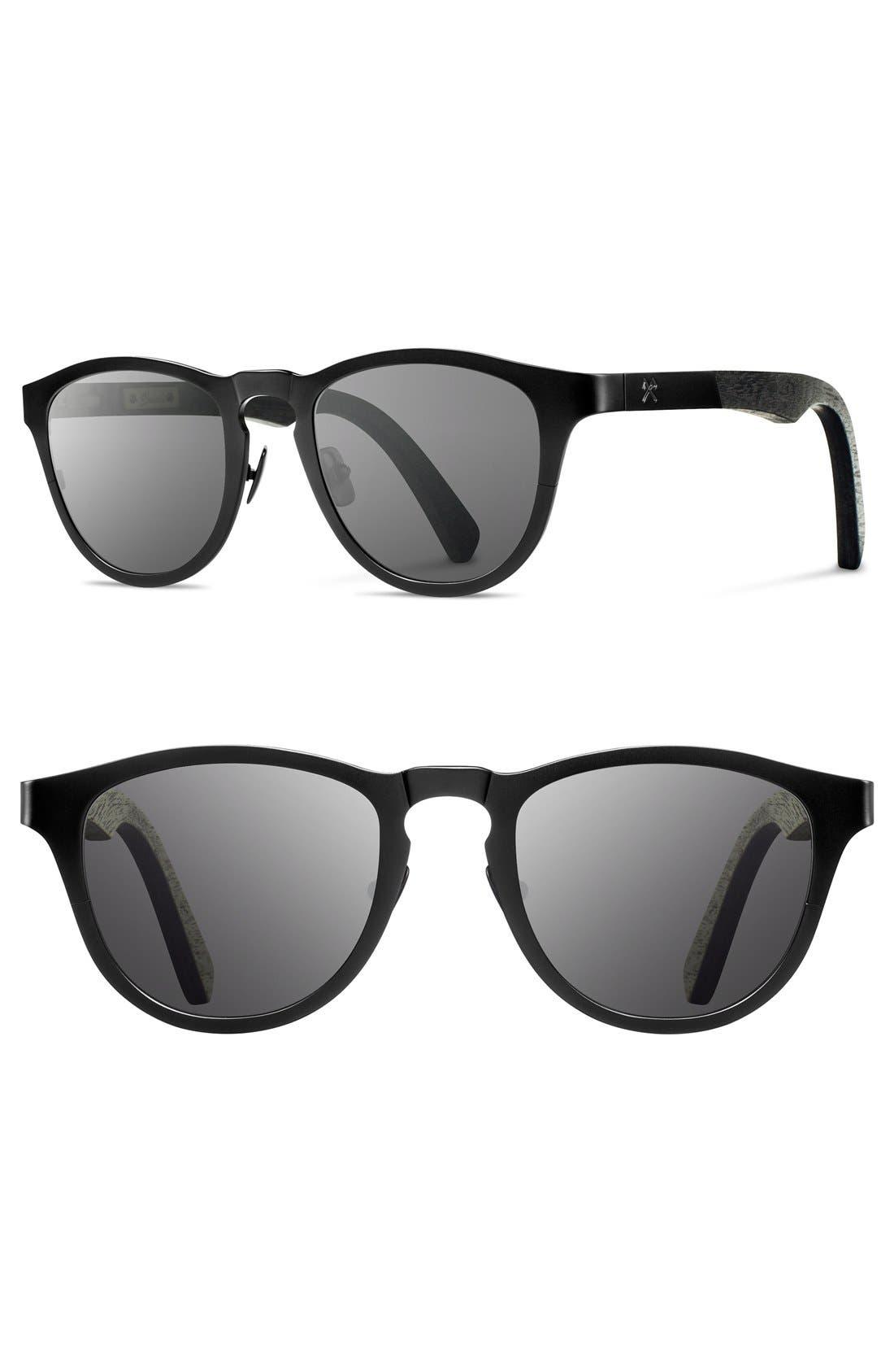 'Francis' 49mm Titanium & Wood Sunglasses,                             Alternate thumbnail 5, color,