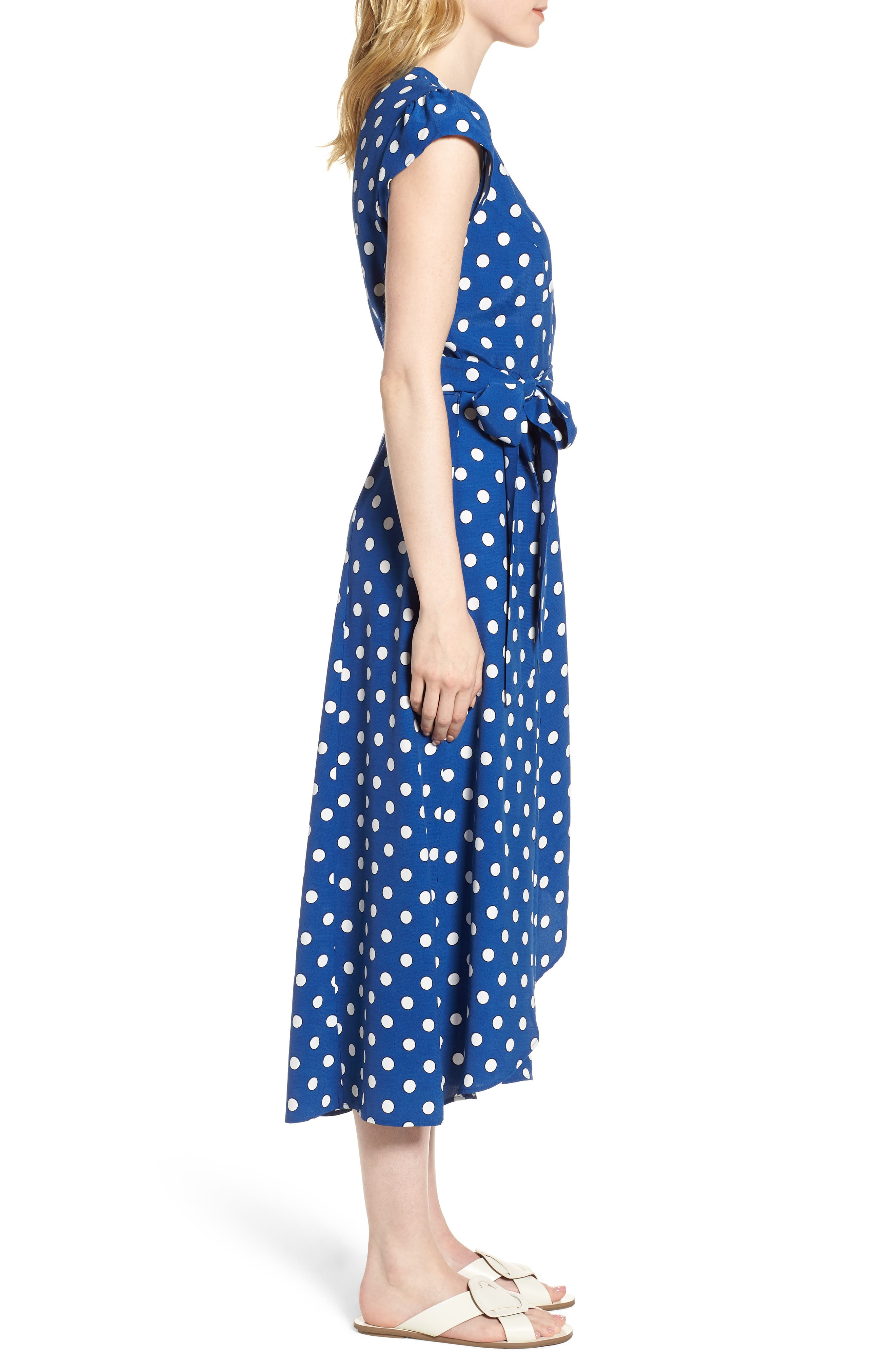 Polka Dot Wrap Dress,                             Alternate thumbnail 3, color,