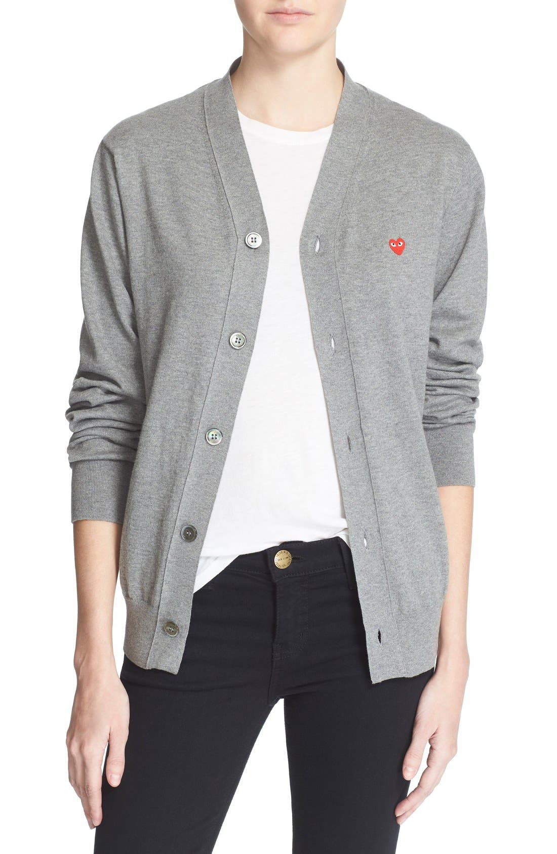 Comme des Garçons PLAY Cotton Cardigan,                             Main thumbnail 1, color,