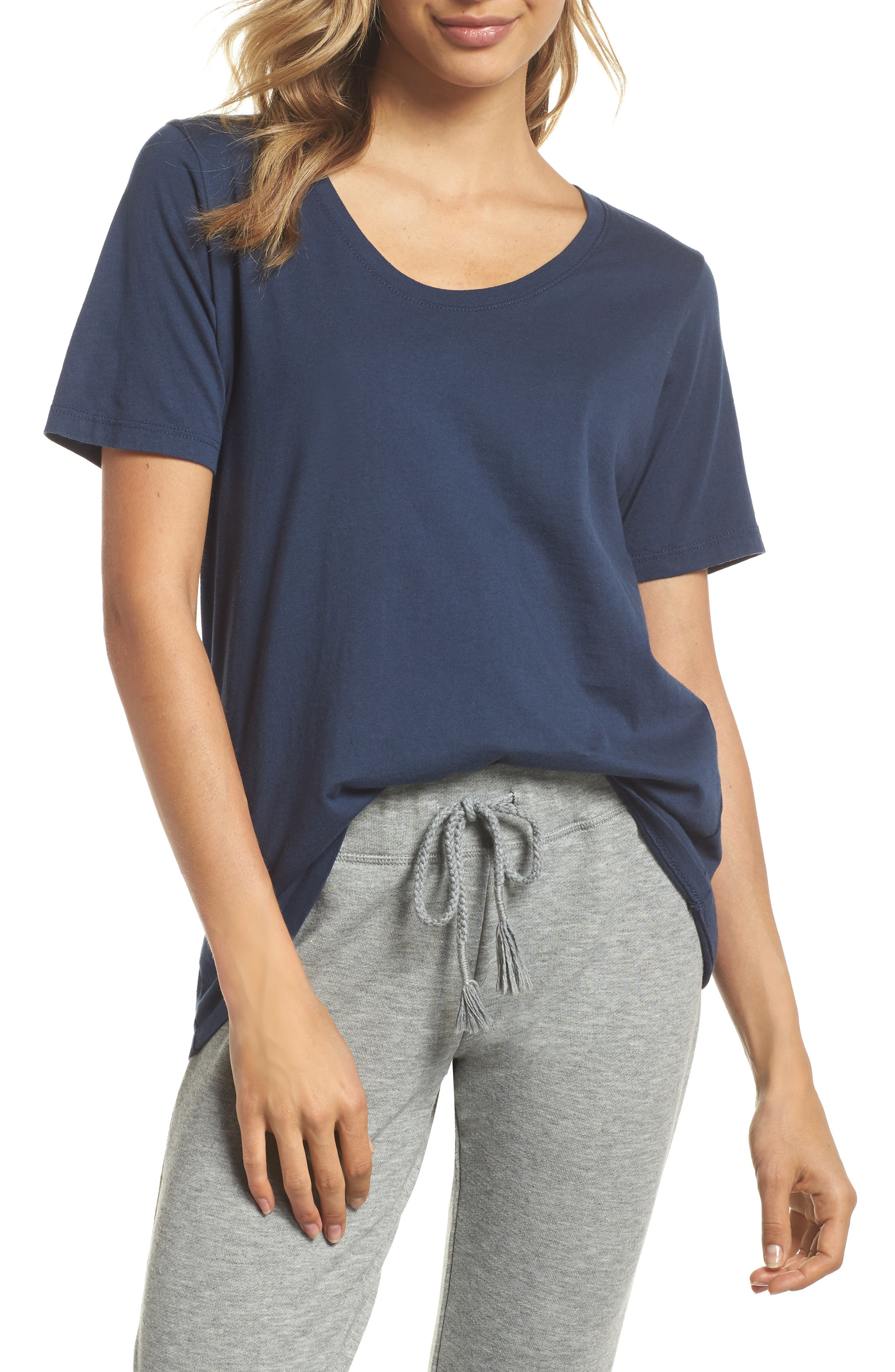 The Scoop Cotton Tee,                         Main,                         color, NAVY