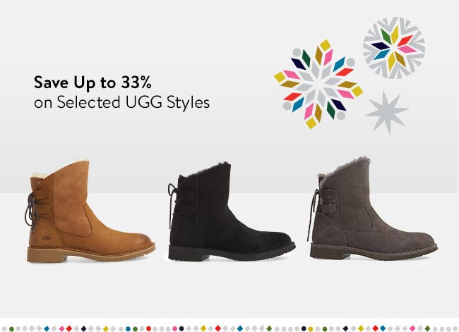 Save on select UGG boots, slippers and shoes.