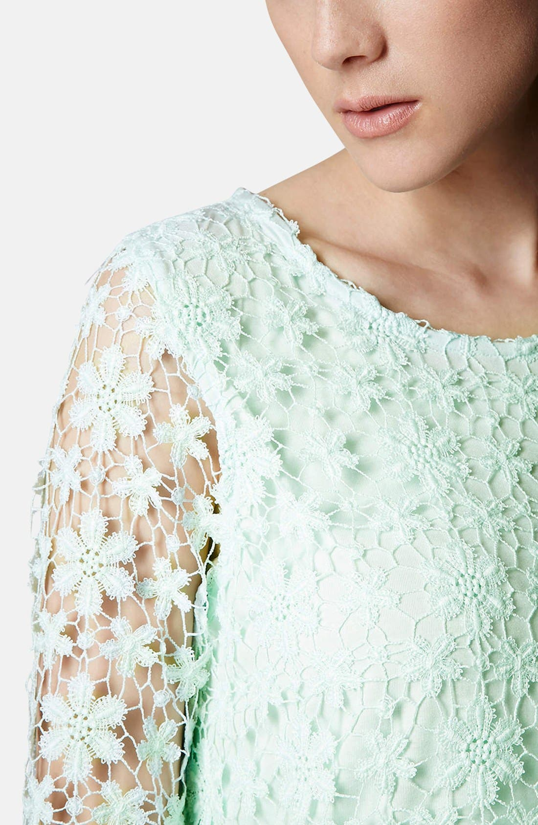 Crochet Lace Overlay Top,                             Alternate thumbnail 6, color,                             300
