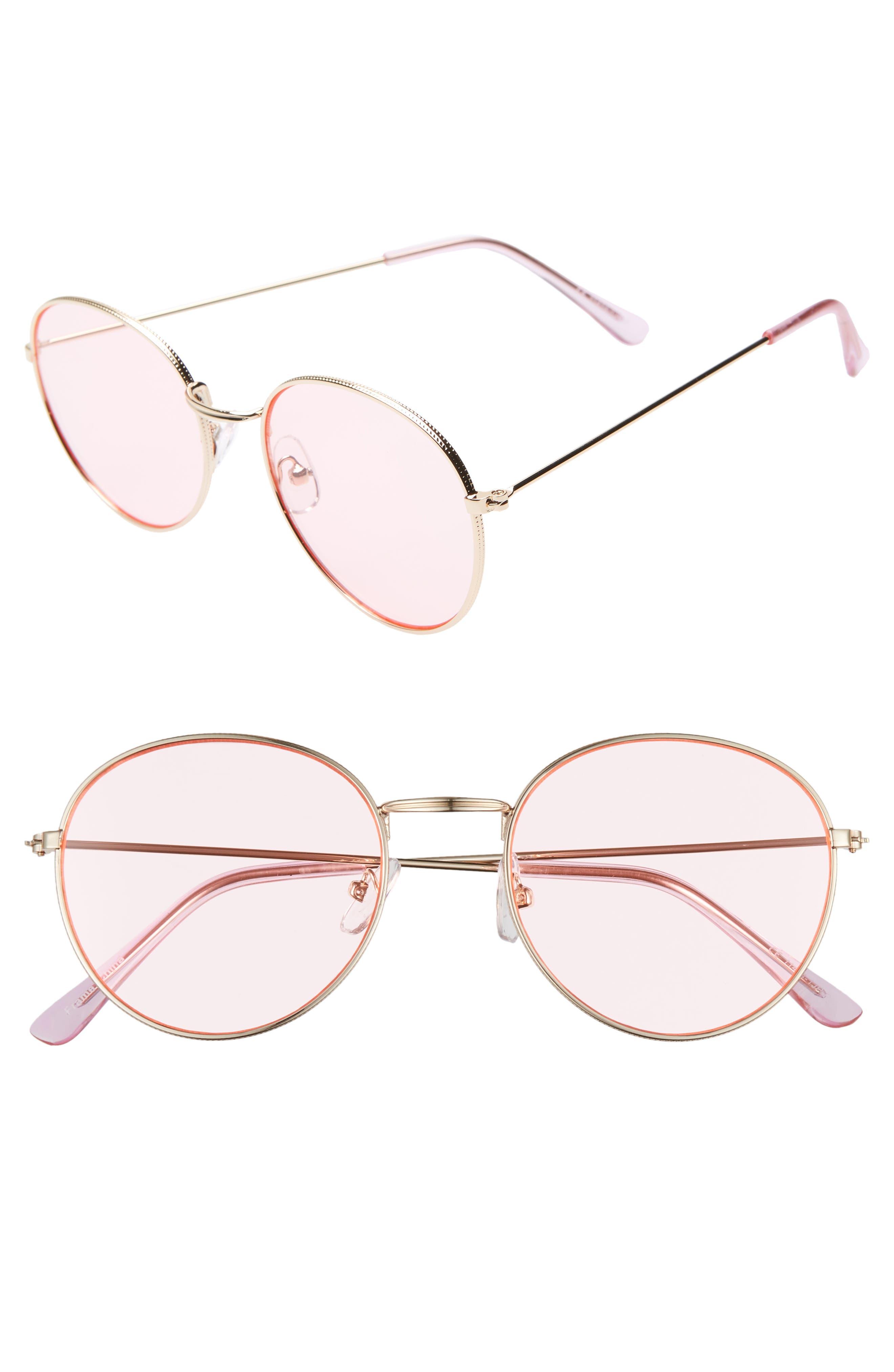GLANCE EYEWEAR 50mm Thin Metal Round Sunglasses, Main, color, GOLD/ PINK