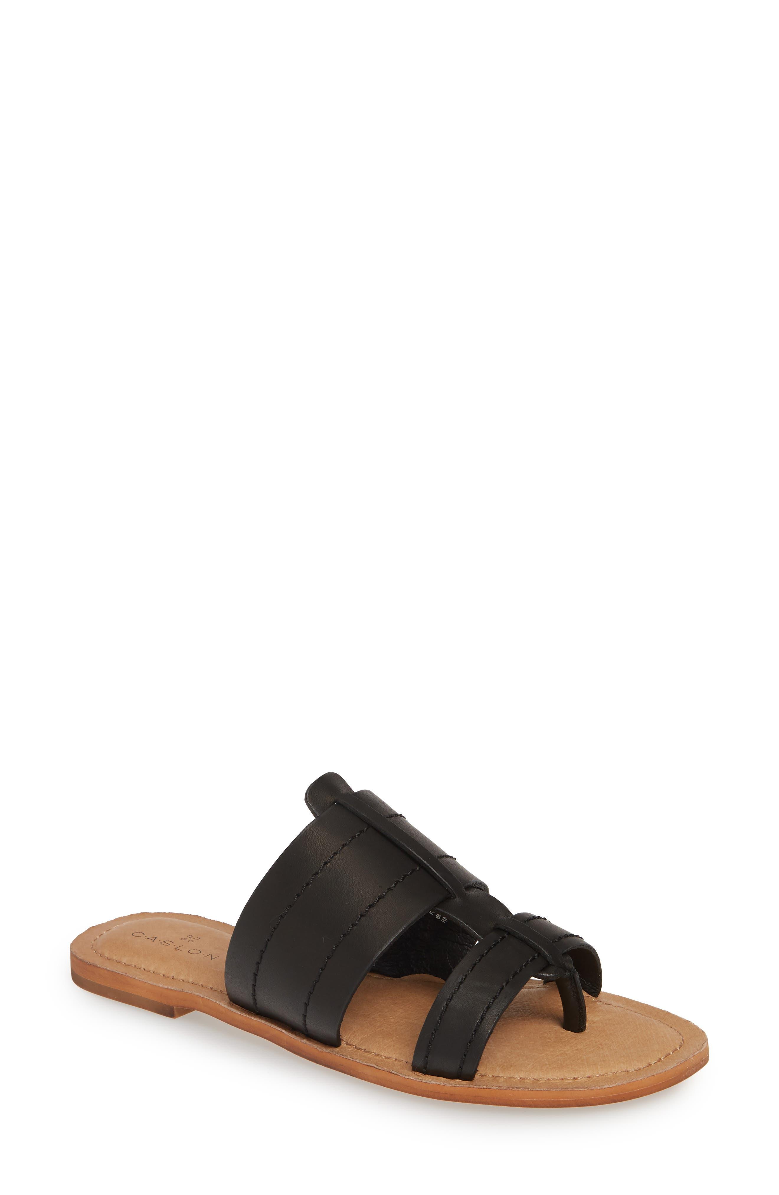 Mateo Slide Sandal, Main, color, BLACK LEATHER