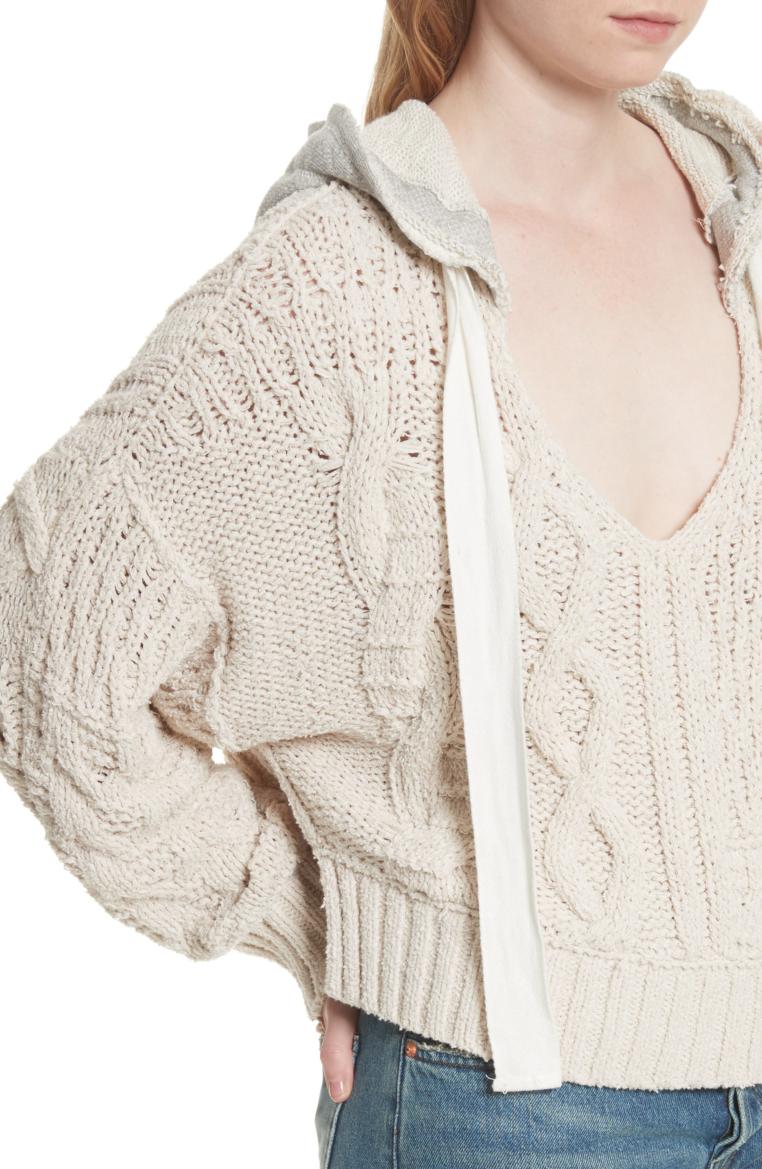 Tierra Cable Knit Hoodie,                             Alternate thumbnail 4, color,                             903