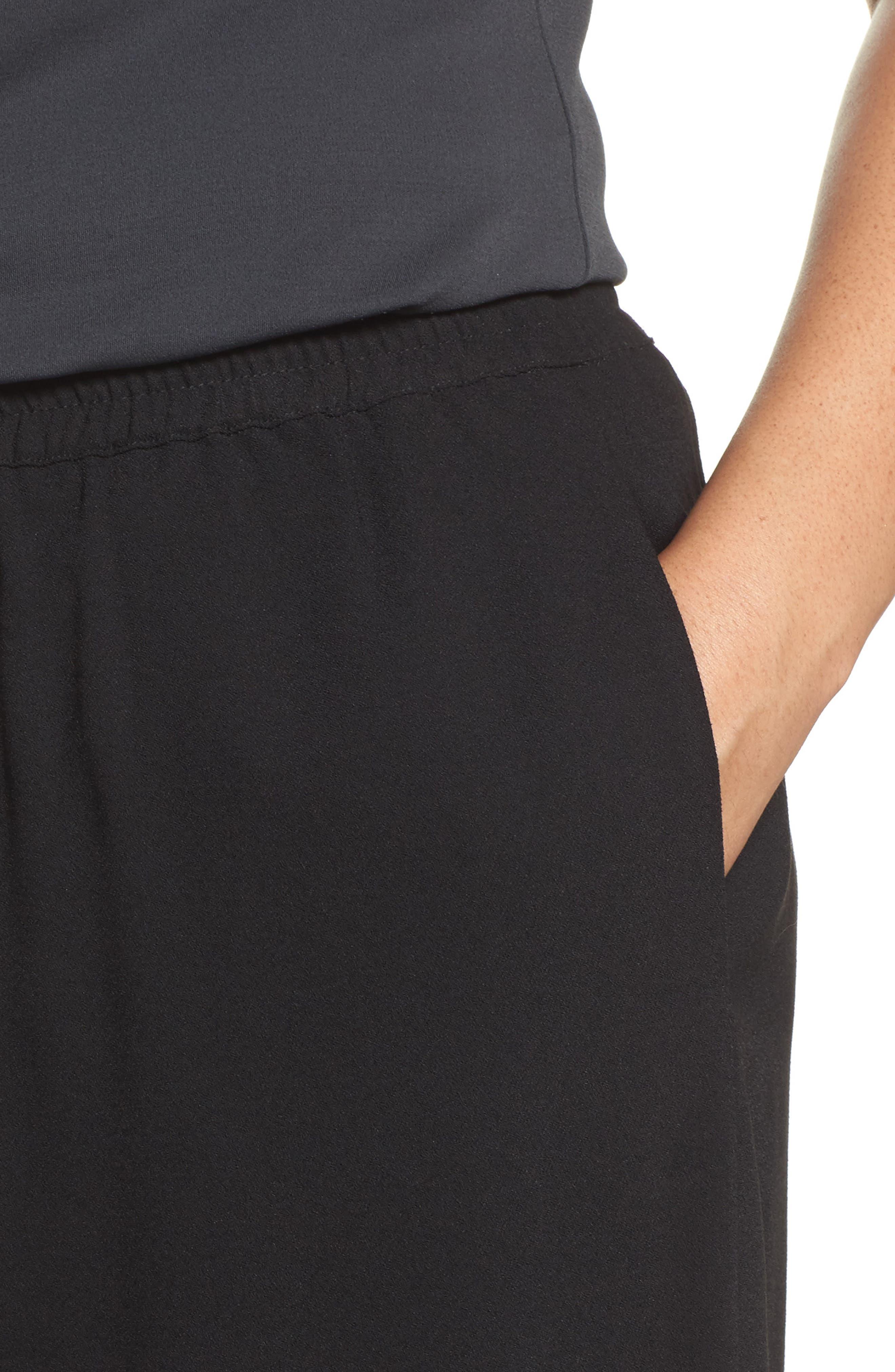 Wide Leg Crepe Pants,                             Alternate thumbnail 4, color,                             010