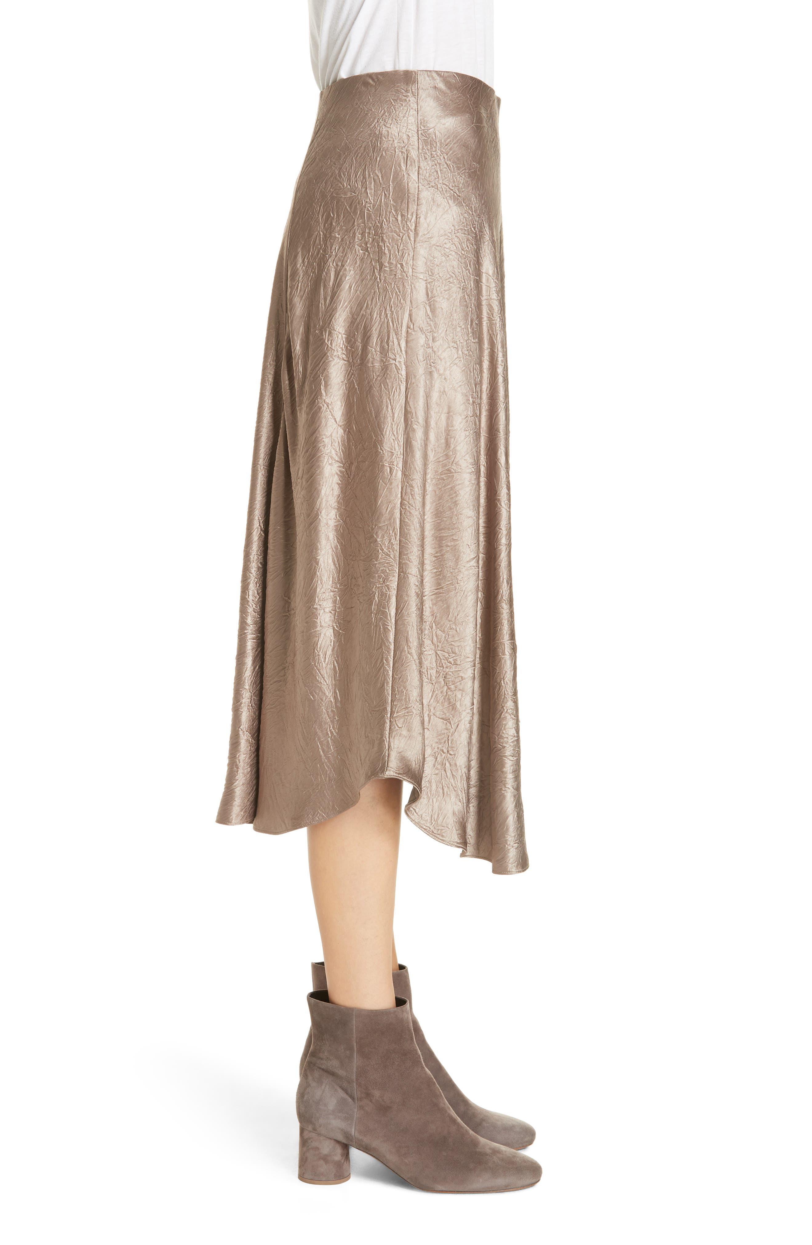 Asymmetrical Crinkled Satin Skirt,                             Alternate thumbnail 3, color,                             TAUPE