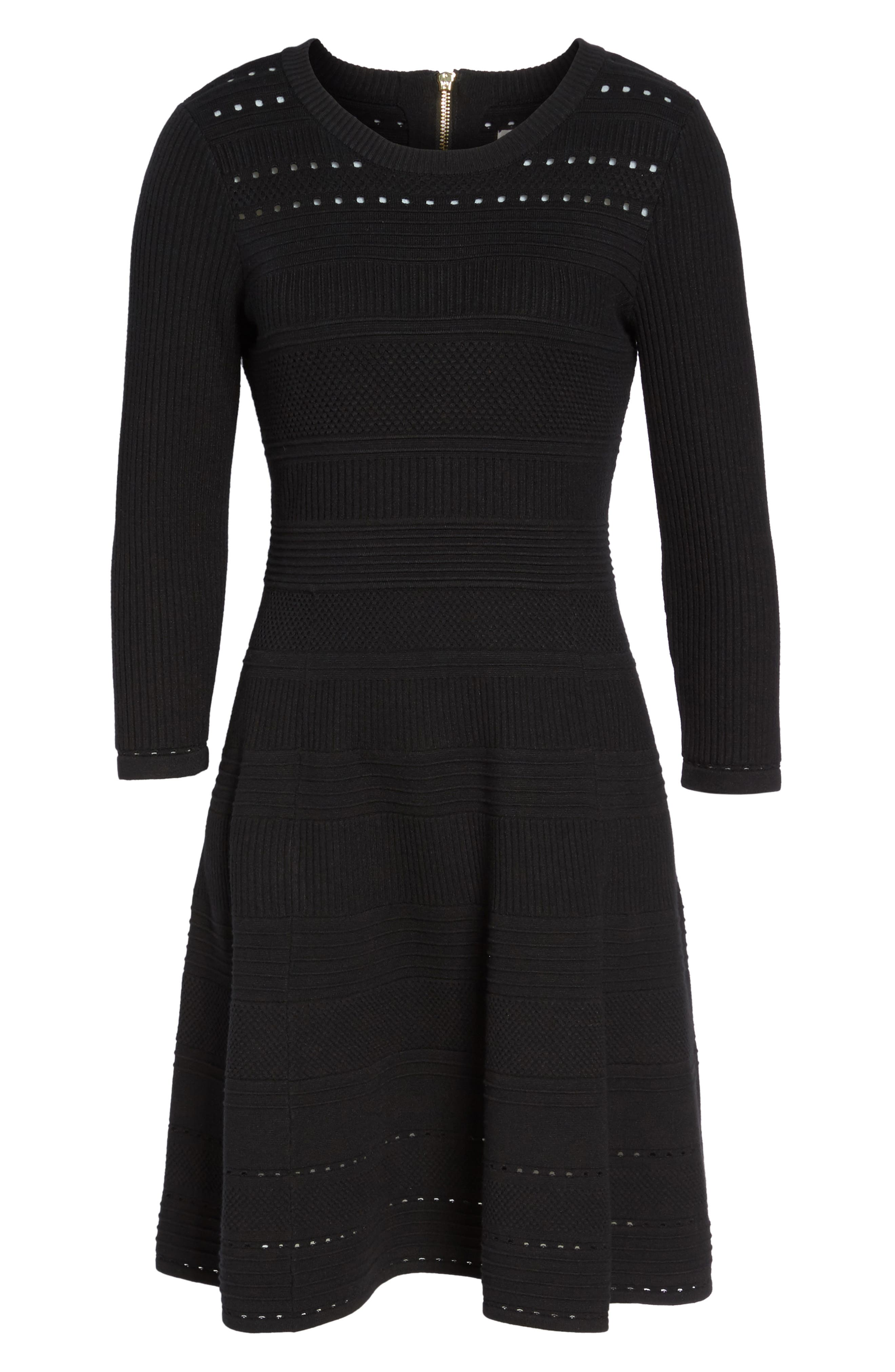 Fit & Flare Sweater Dress,                             Alternate thumbnail 7, color,                             BLACK