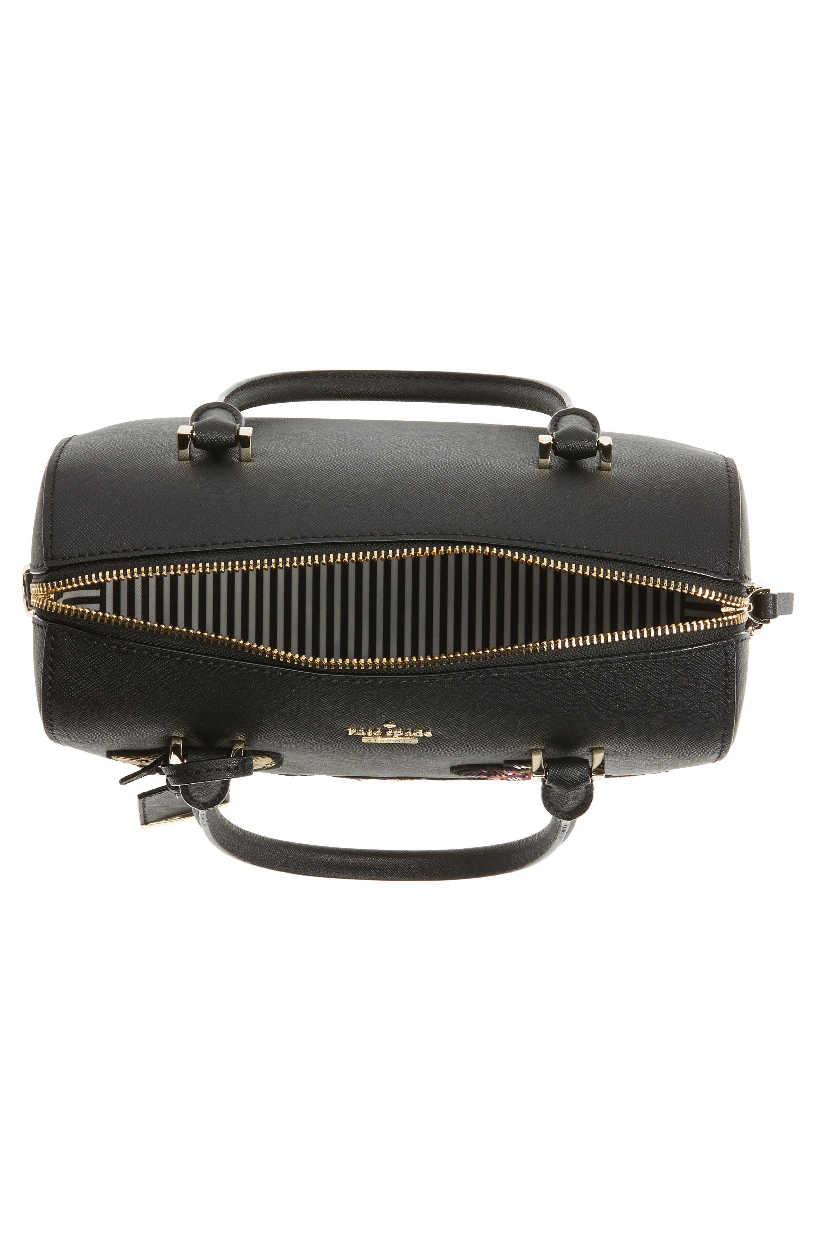 large lane - ma cherie leather satchel,                             Alternate thumbnail 4, color,                             001