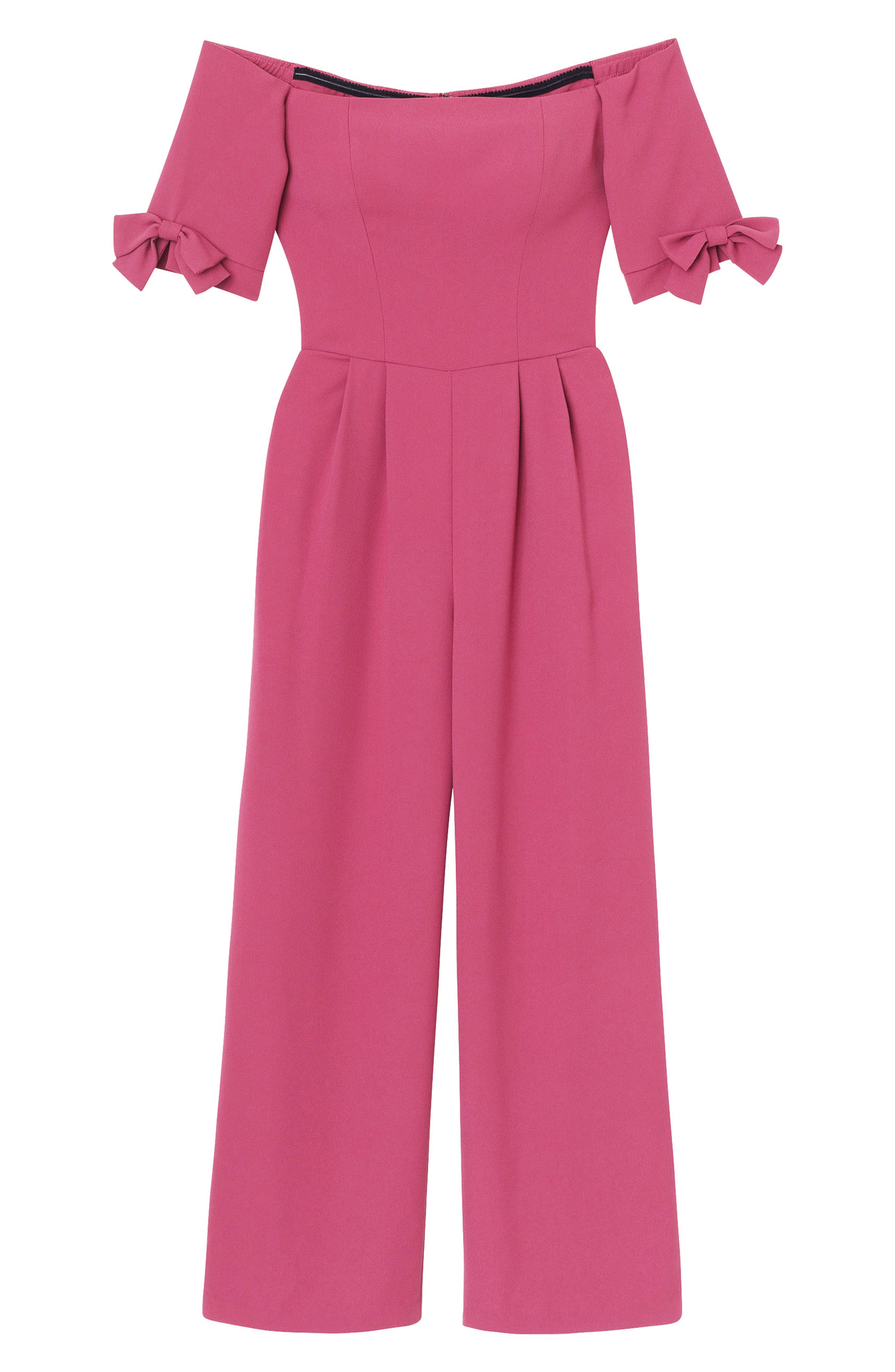 Meredith Crepe Off the Shoulder Jumpsuit,                             Alternate thumbnail 4, color,                             DEEP MAGENTA