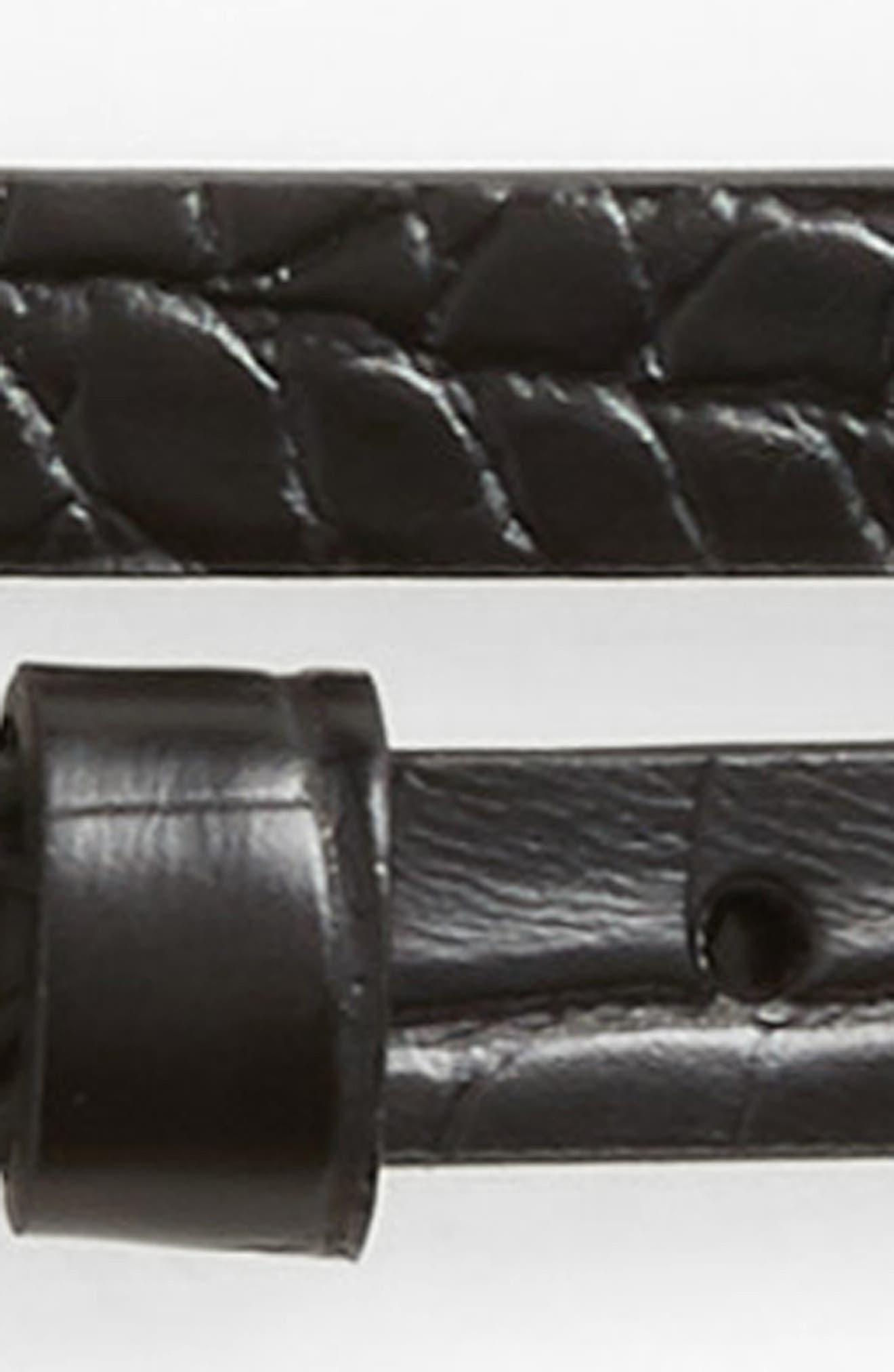 Faux Crocodile Double Wrap Stretch Belt,                             Alternate thumbnail 3, color,                             001