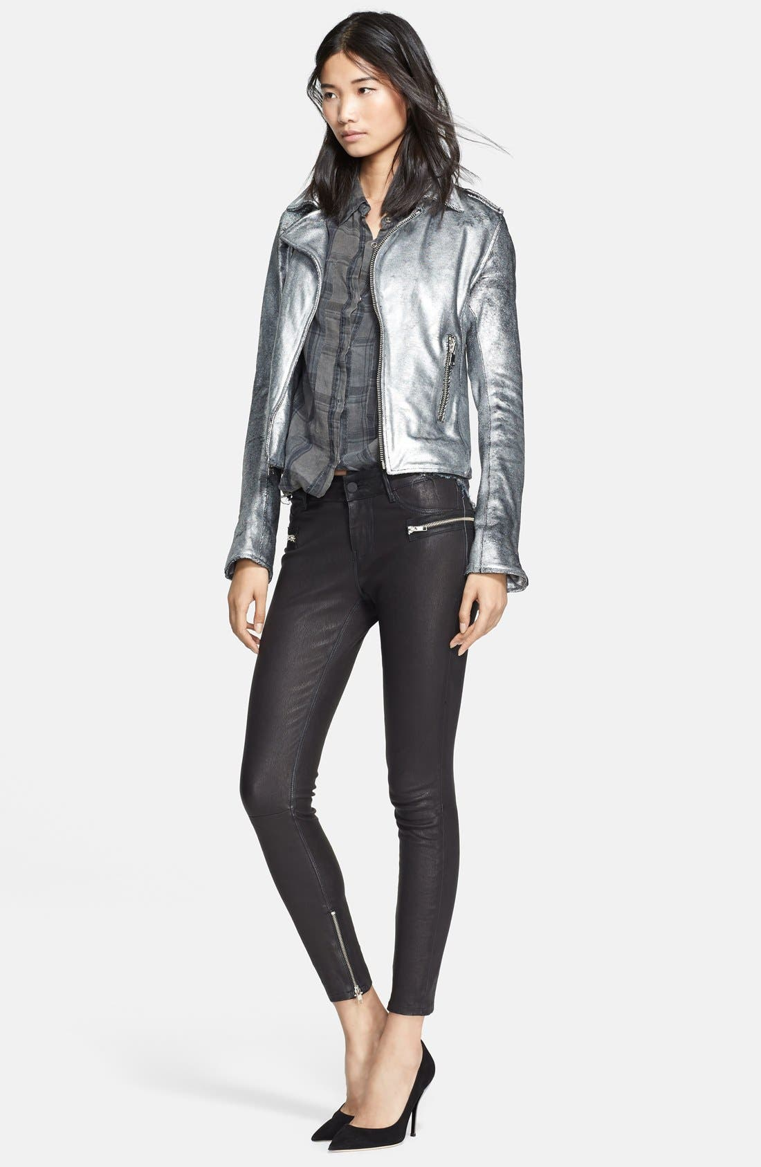 Metallic Leather Biker Jacket,                             Alternate thumbnail 3, color,                             099