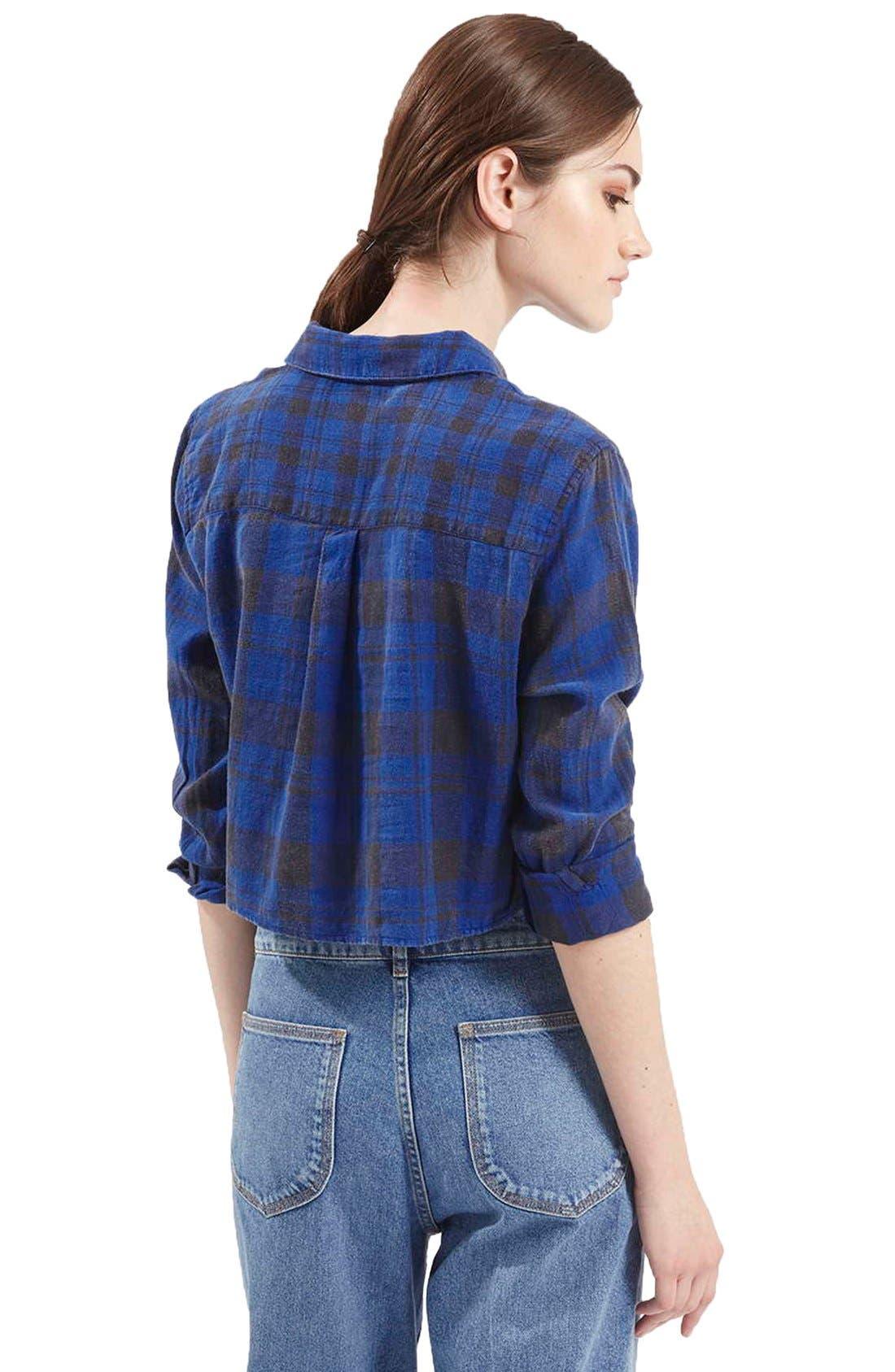 'Chloe' Crop Plaid Shirt,                             Alternate thumbnail 5, color,                             400