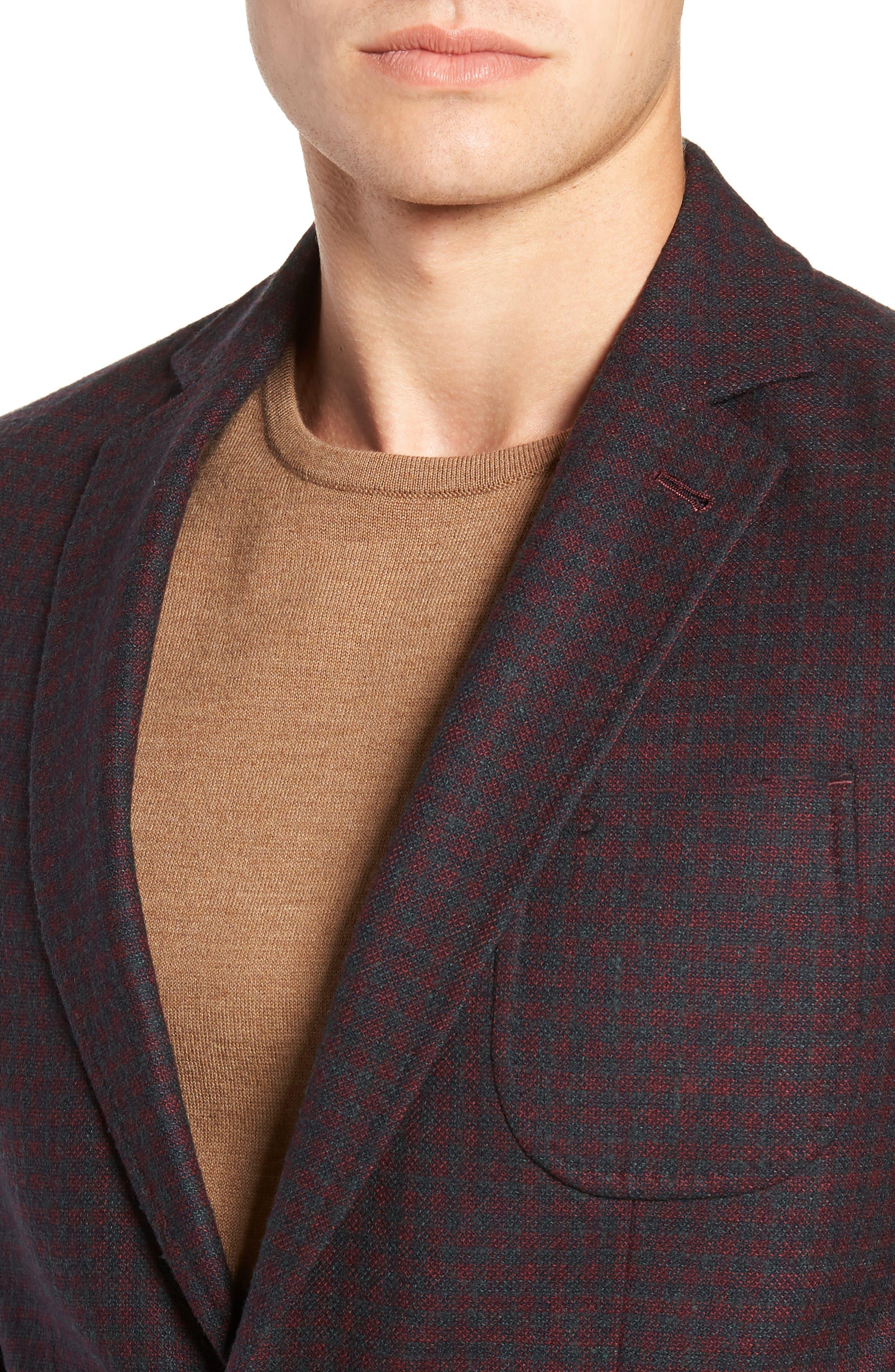 Regular Fit Wool Blend Sport Coat,                             Alternate thumbnail 4, color,                             RED