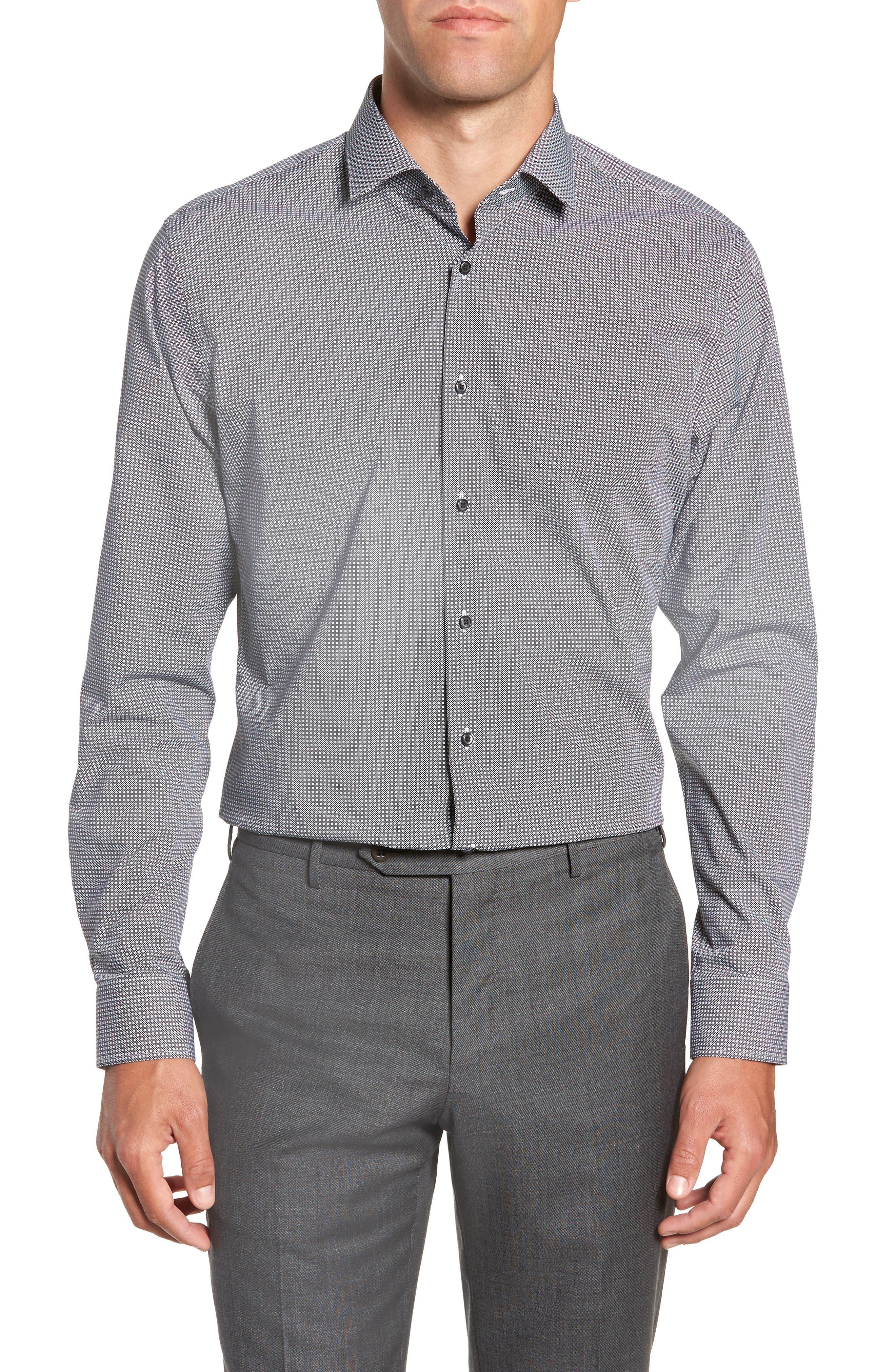 Trim Fit Stretch Non-Iron Geometric Dress Shirt,                         Main,                         color, BLACK ROCK