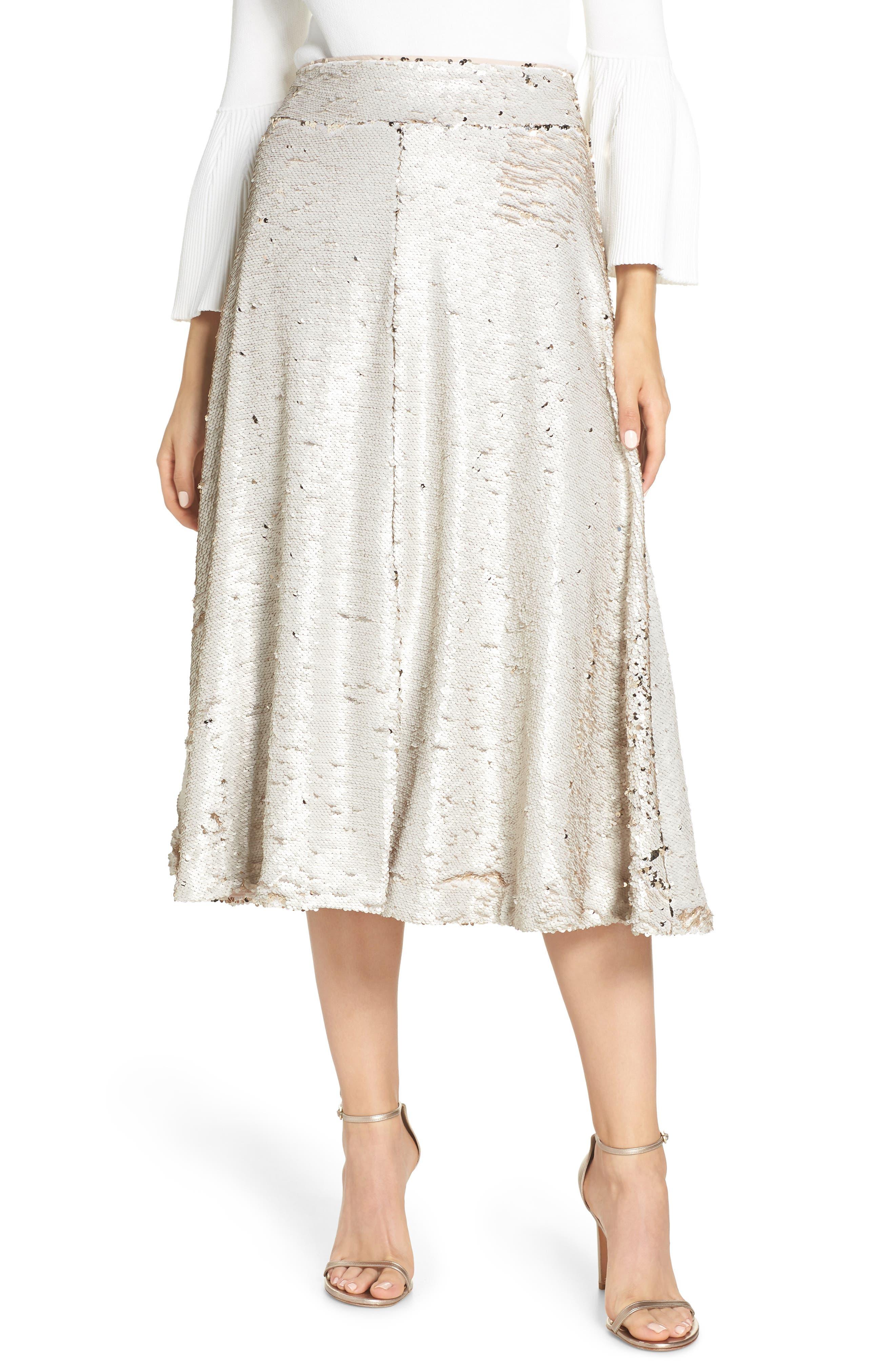 Sequin Embellished A-Line Skirt,                             Alternate thumbnail 4, color,                             GOLD