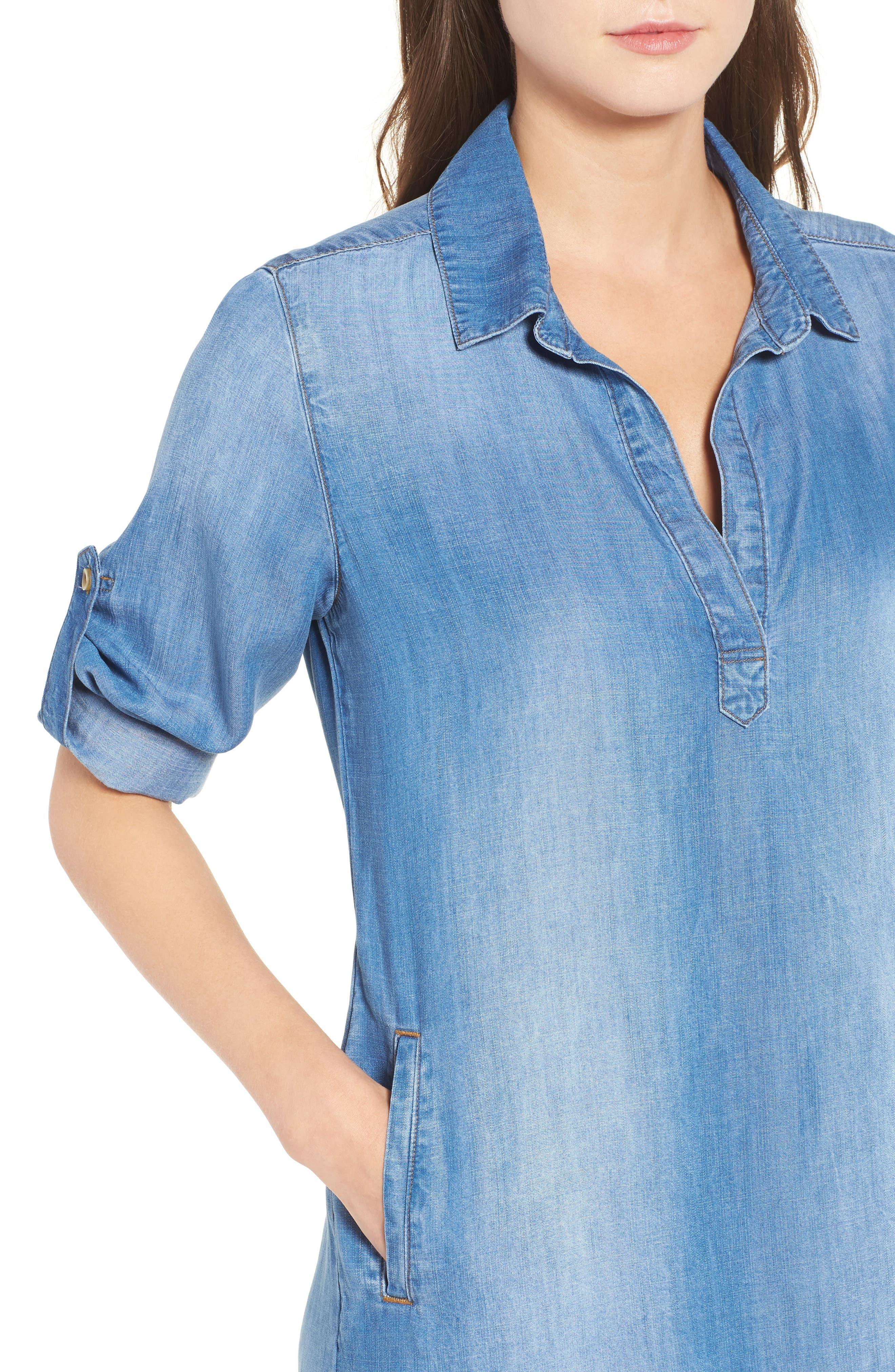 Frayed Hem Denim Shirtdress,                             Alternate thumbnail 4, color,                             496