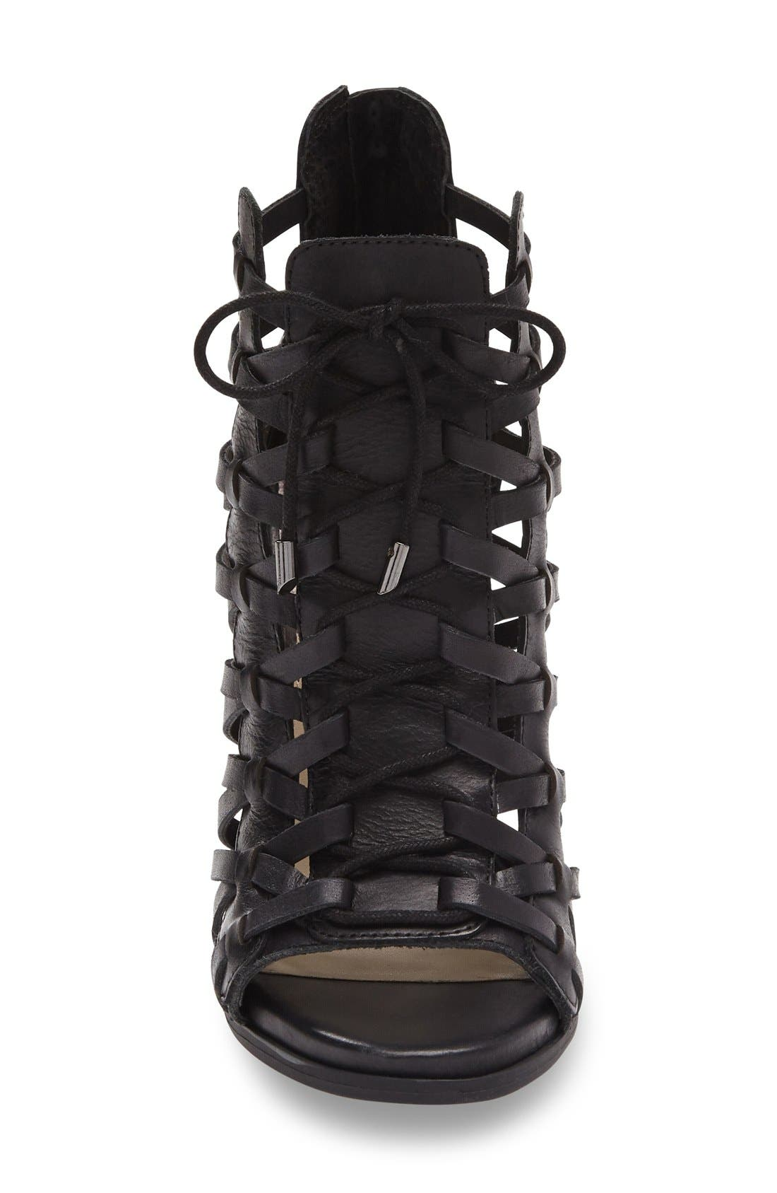 JESSICA SIMPSON,                             Riana Woven Leather Cage Sandal,                             Alternate thumbnail 6, color,                             001