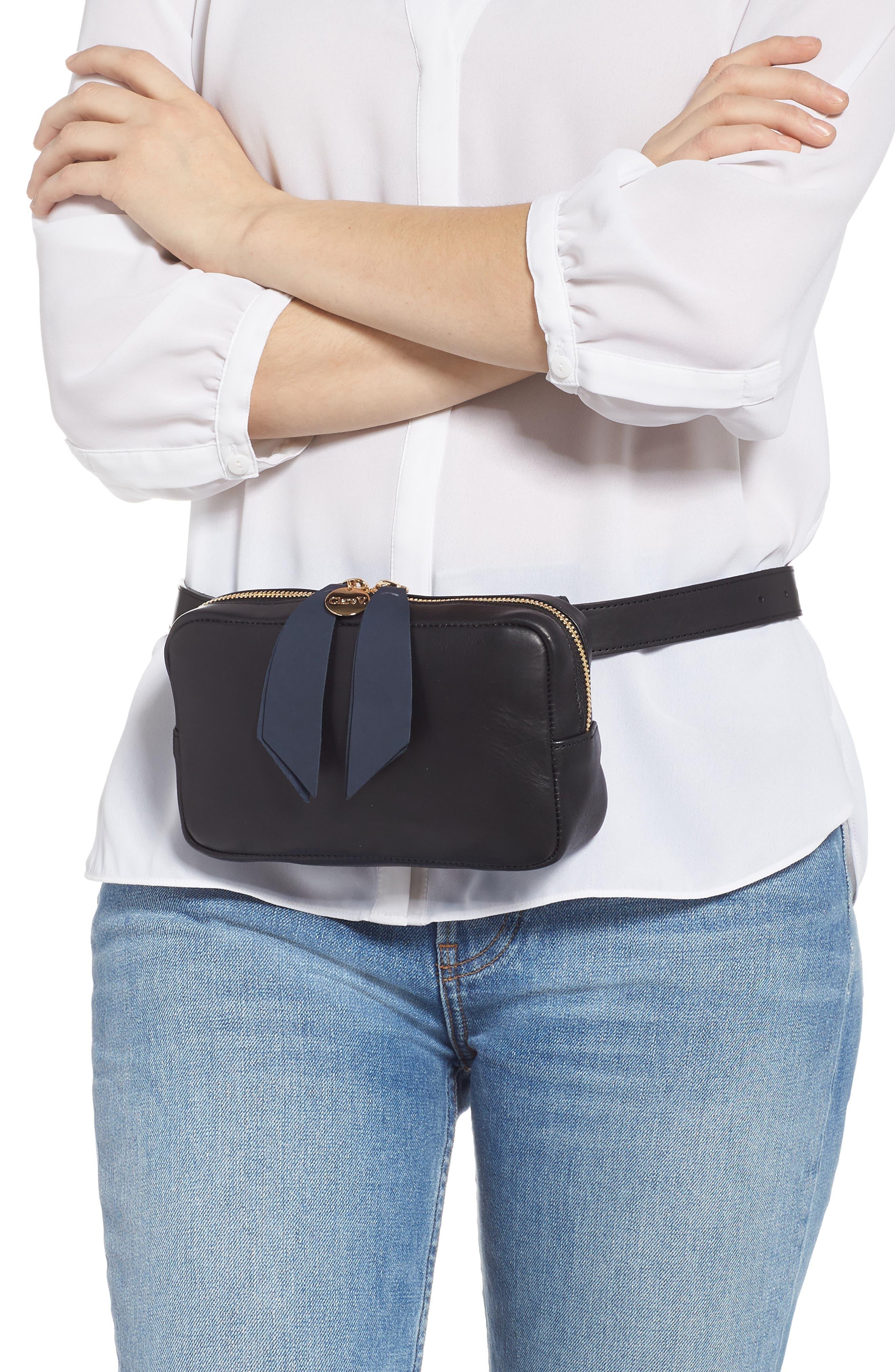 CLARE V.,                             Le Belt Leather Convertible Crossbody Bag,                             Alternate thumbnail 2, color,                             BLACK VEGAN