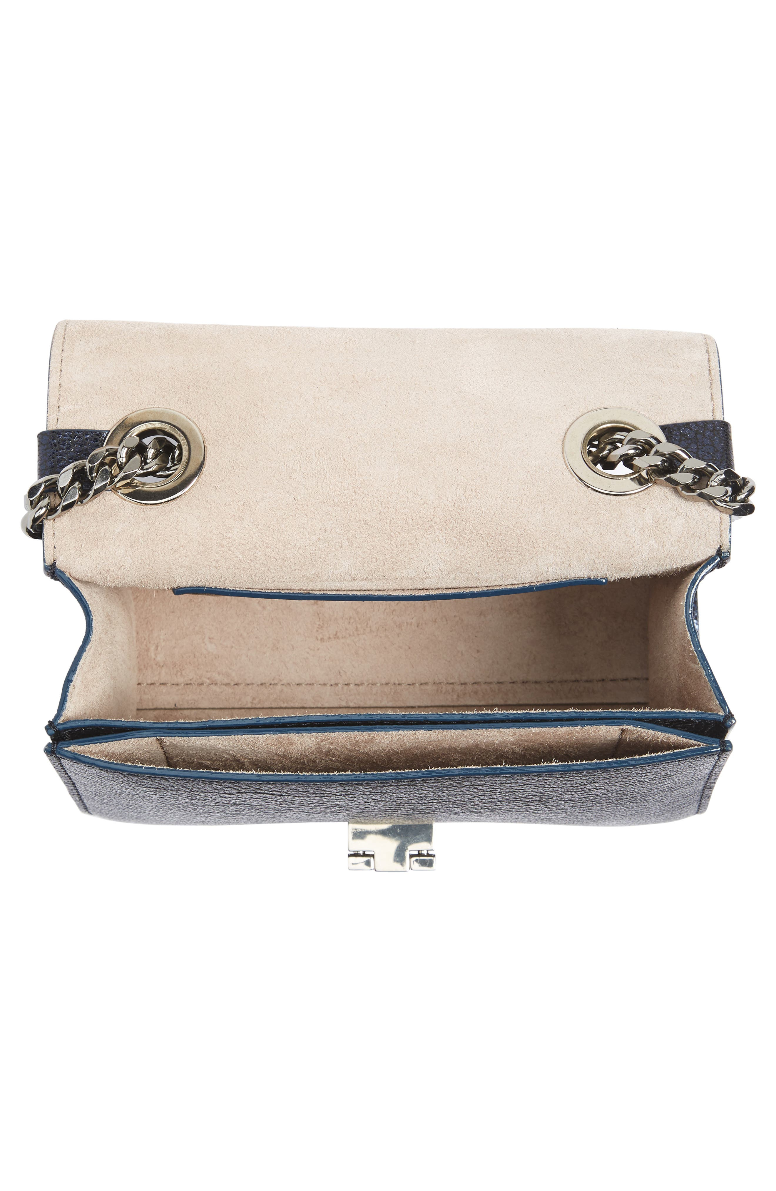 Mini Rebel Metallic Leather Crossbody Bag,                             Alternate thumbnail 4, color,                             400