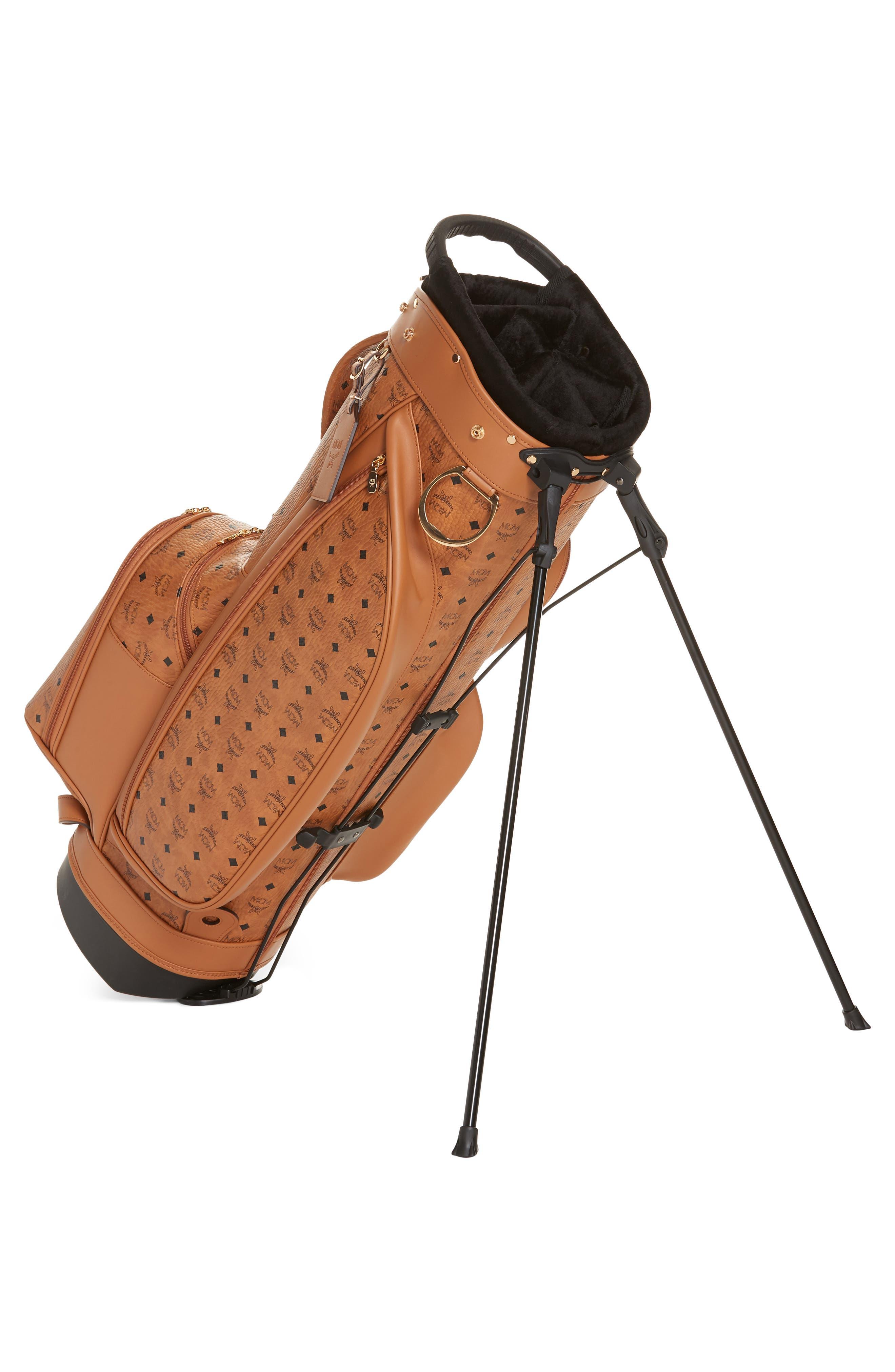Vintage Visetos Coated Canvas Golf Bag,                             Alternate thumbnail 3, color,                             COGNAC