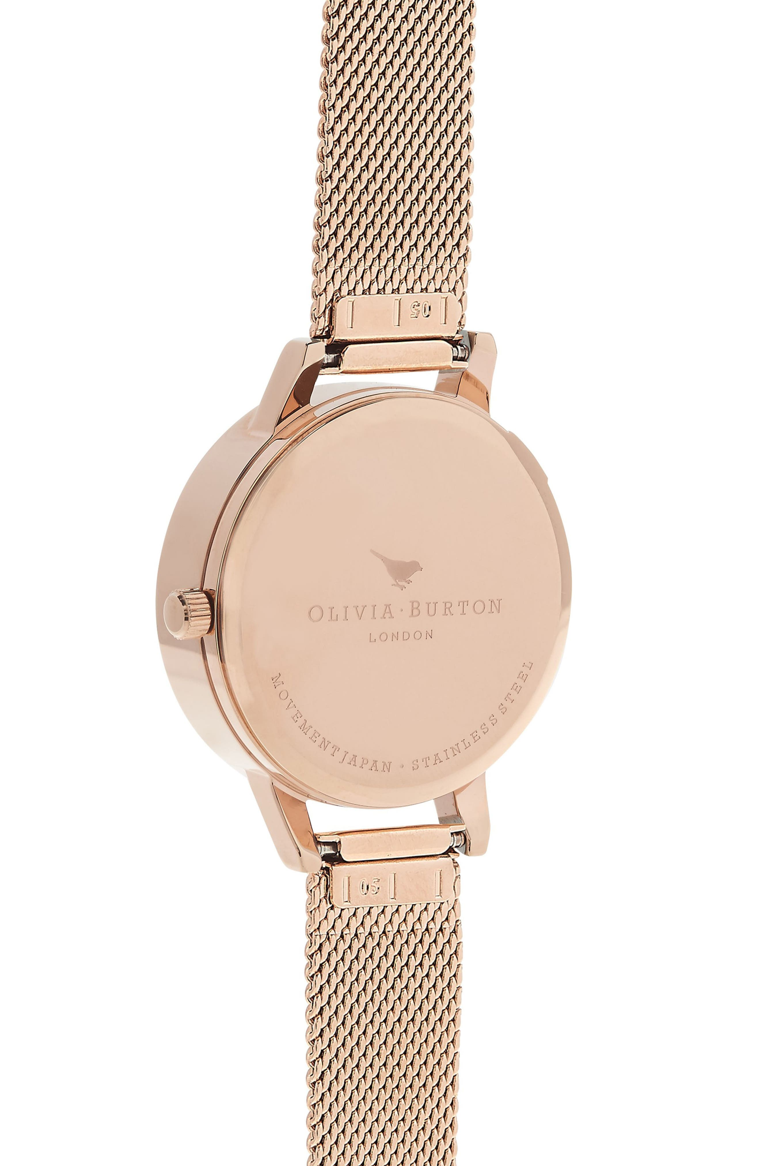 Watercolor Floral Mesh Strap Watch, 30mm,                             Alternate thumbnail 2, color,                             ROSE GOLD/ BEE/ ROSE GOLD